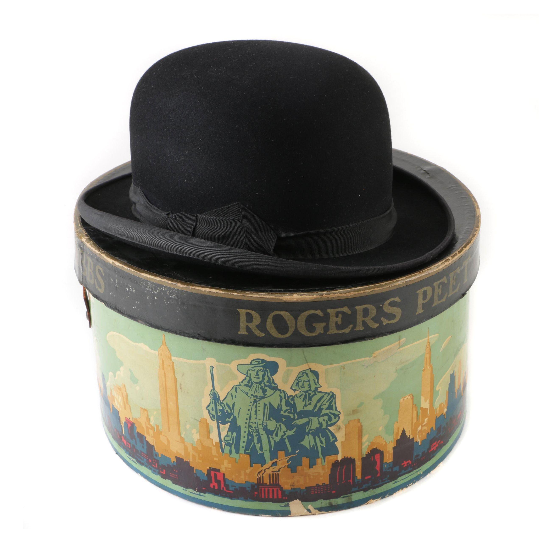 Men's Brooks Brothers Black Fur Felt Derby Bowler Hat