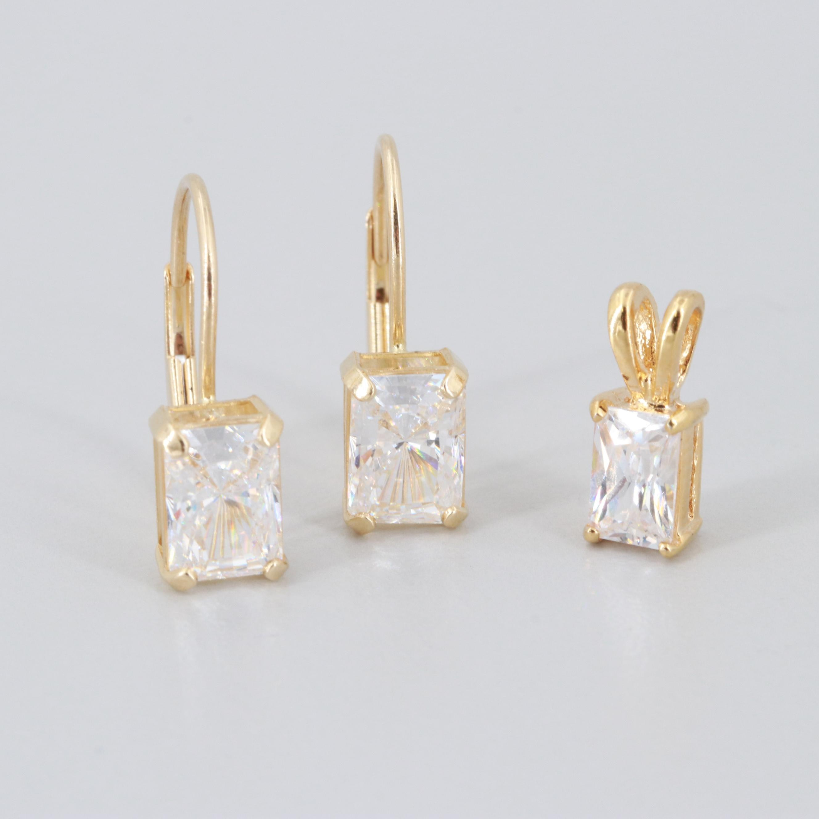14K Yellow Gold Cubic Zirconia Earrings and Gold Tone Cubic Zirconia Pendant