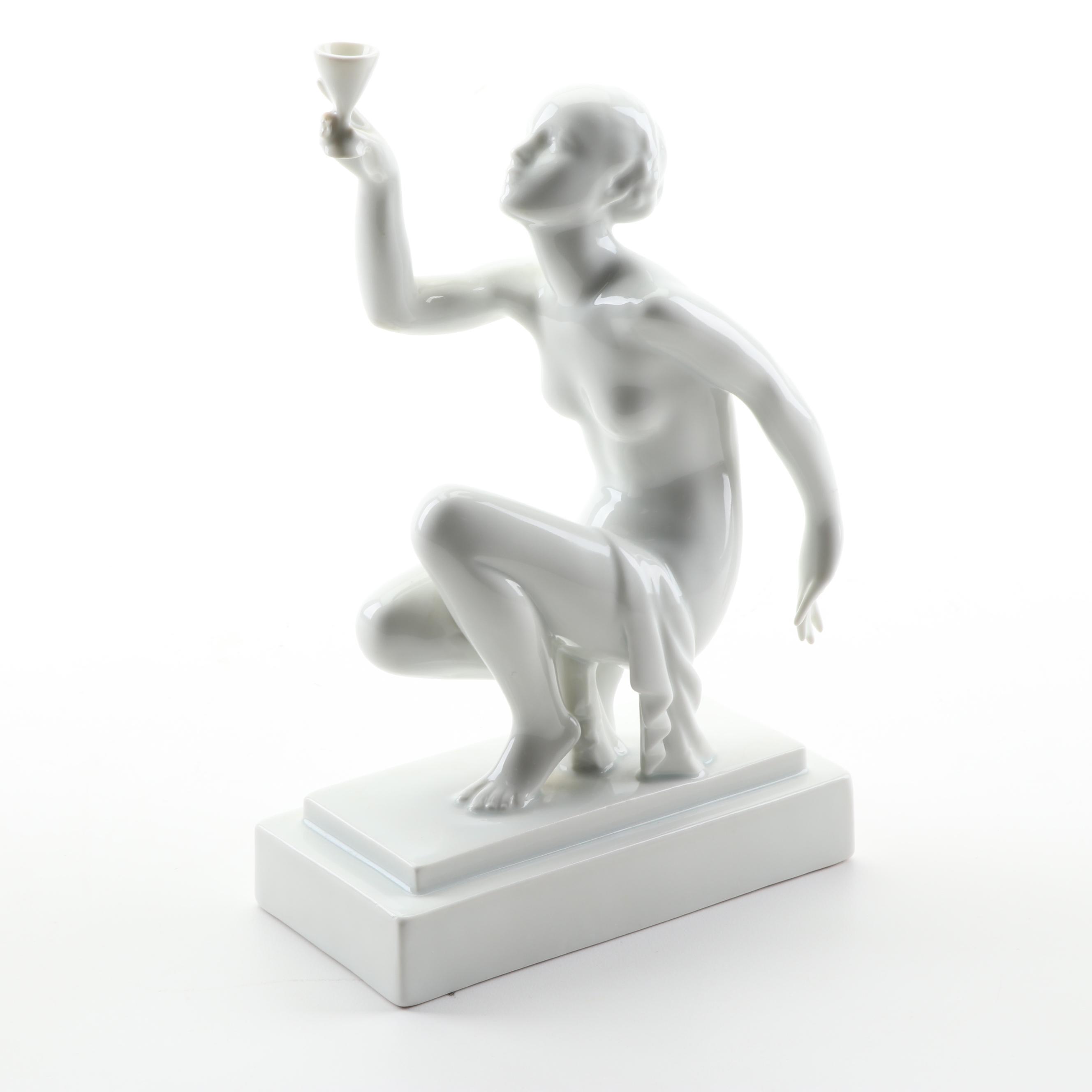 Herend Porcelain Art Deco Style Figurine