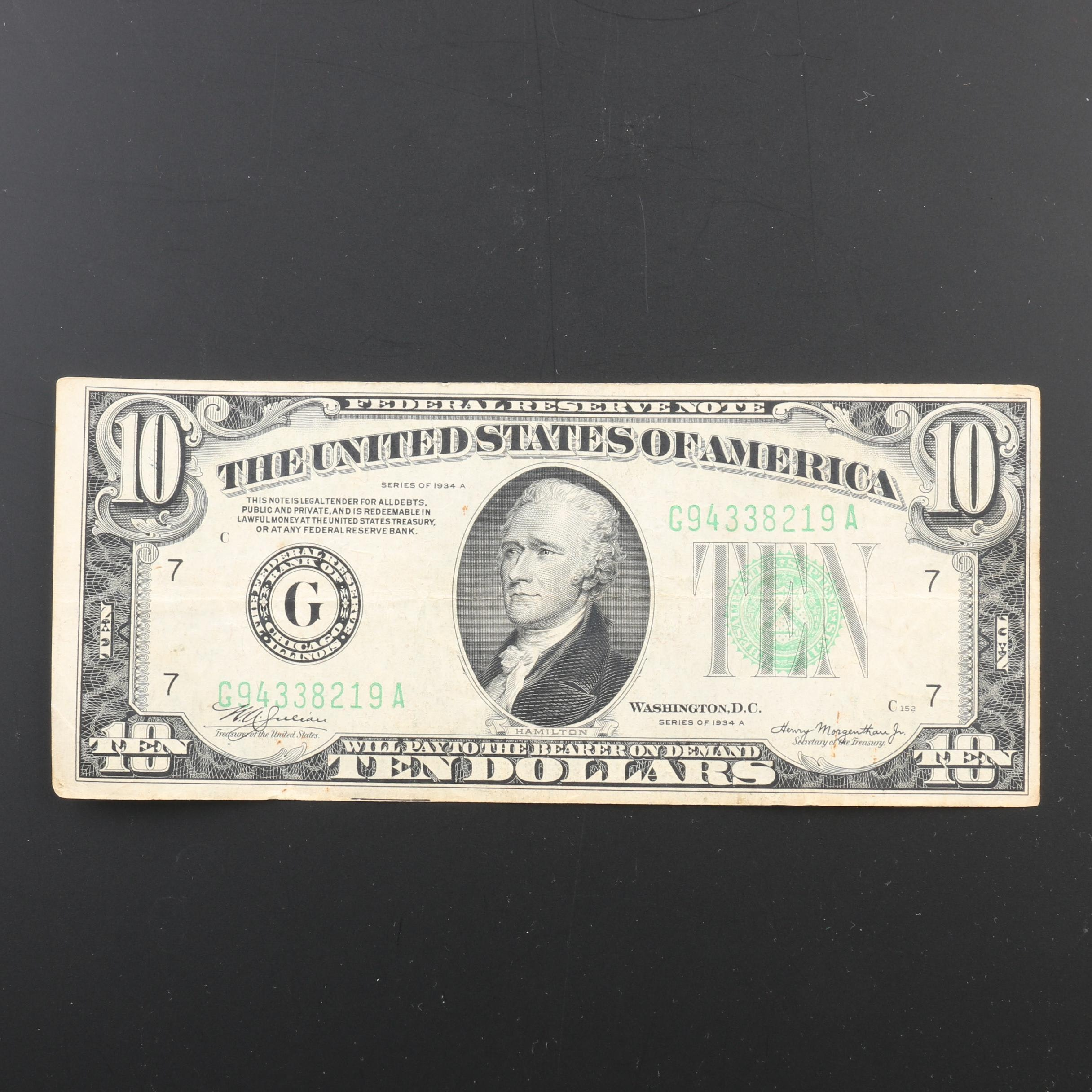 Series of 1934-A U.S. $10 Federal Reserve Note