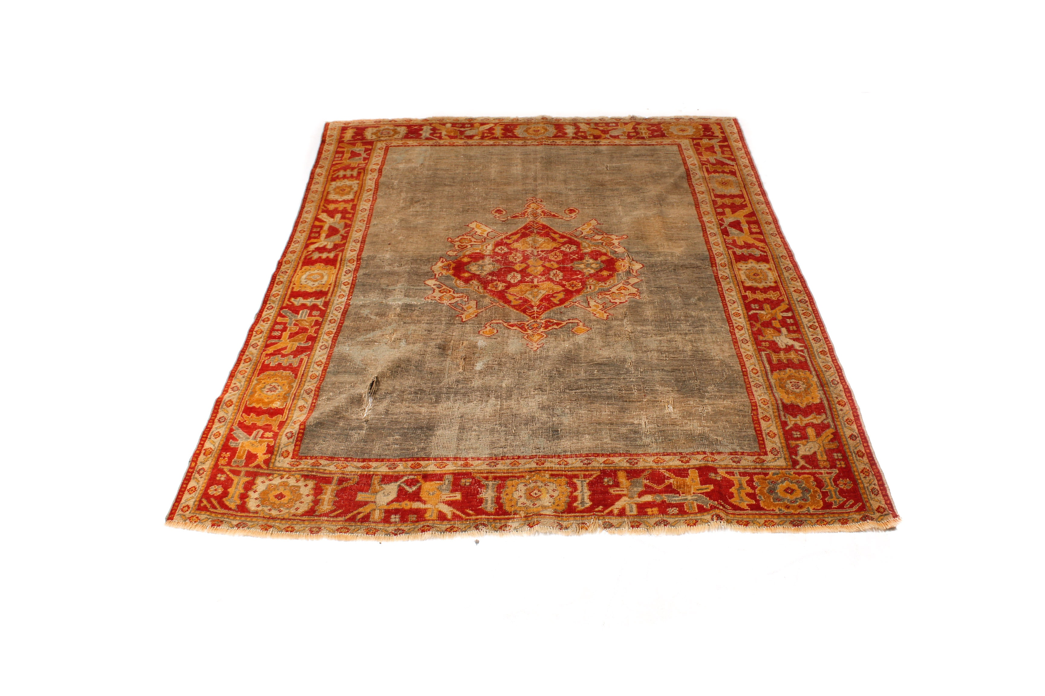 Antique Turkish Oushak Wool Rug, circa 1890