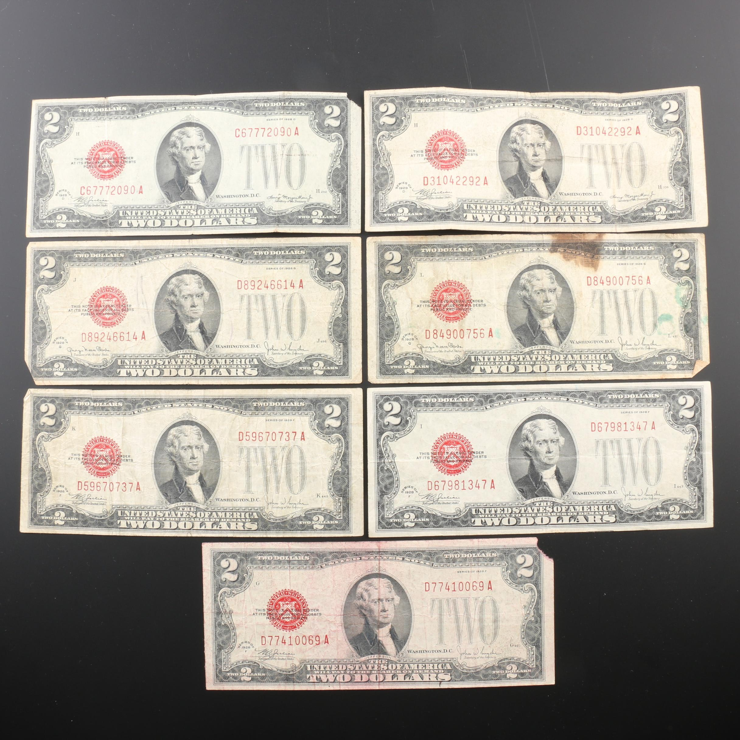 Group of Seven $2 Federal Reserve Notes from 1928
