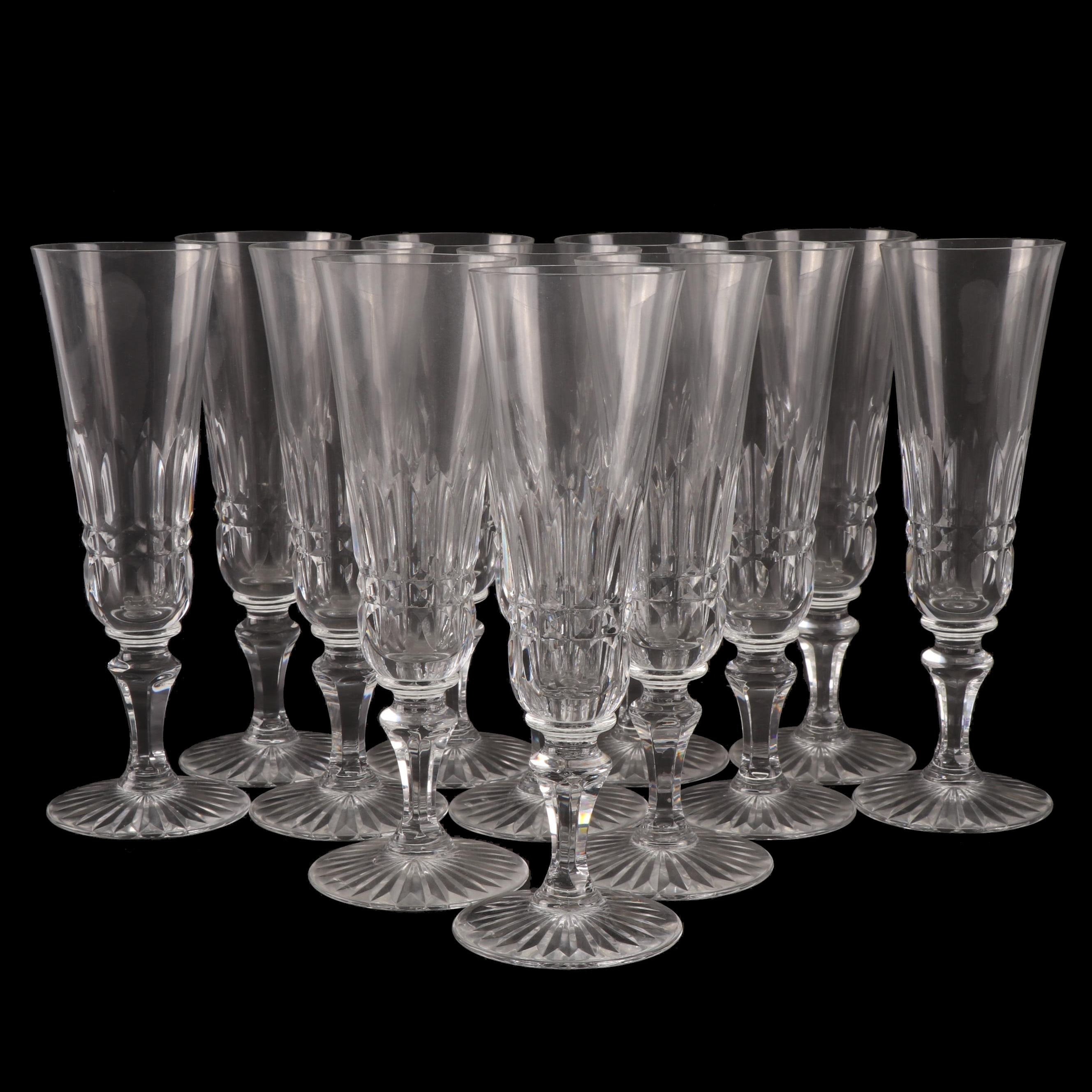 """Baccarat """"Piccadilly"""" Crystal Champagne Flutes, Late 20th Century"""