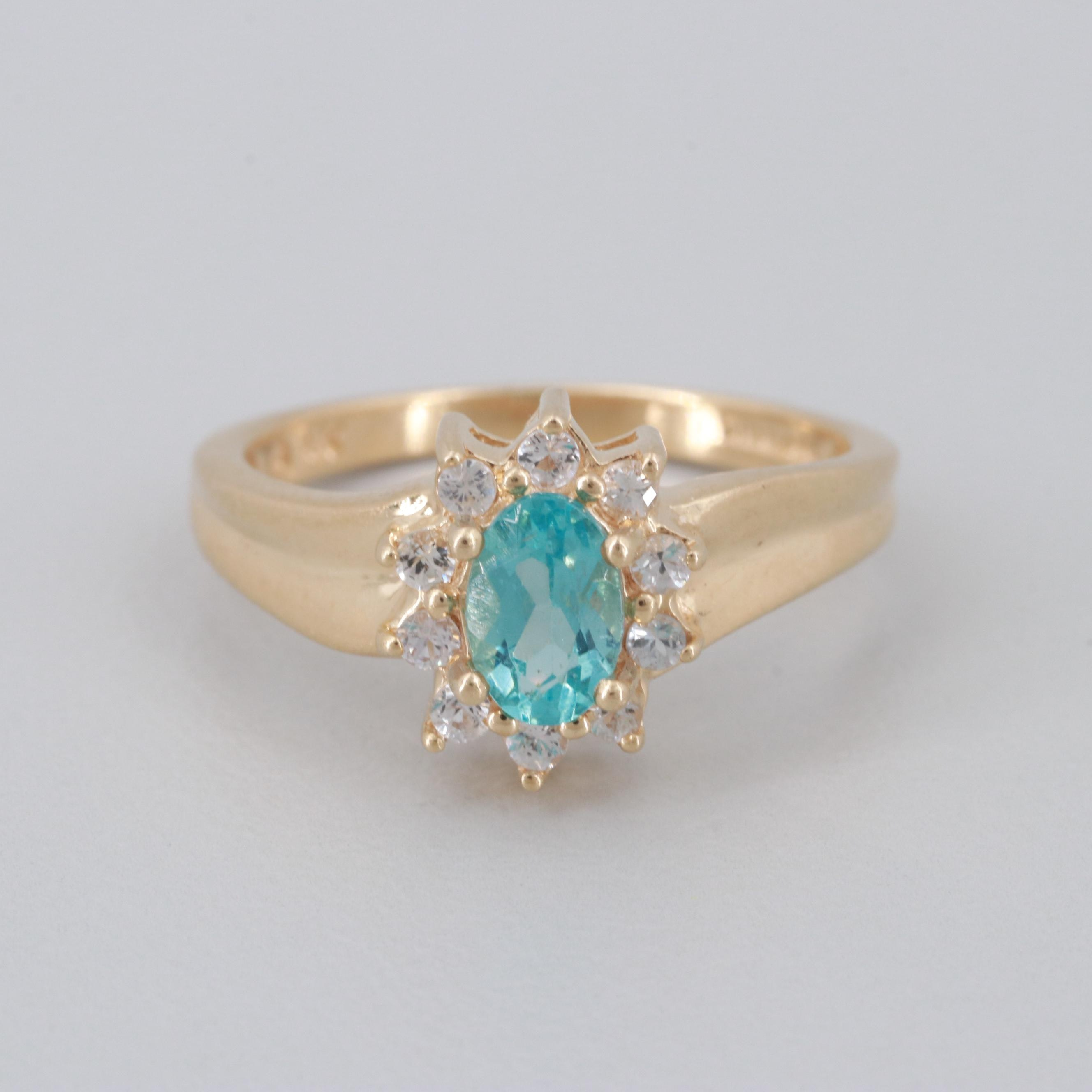 14K Yellow Gold Apatite and White Topaz Ring
