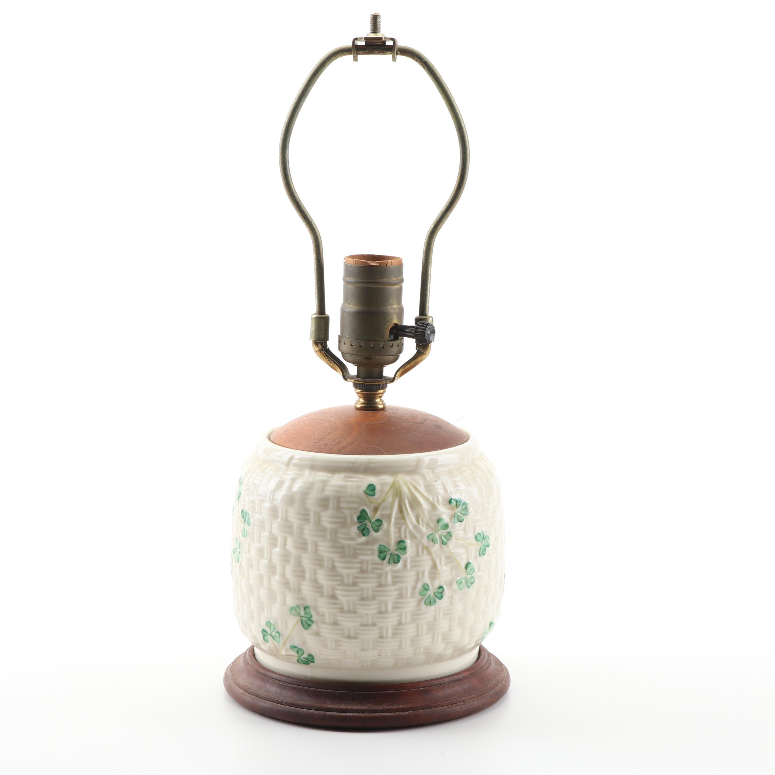 """Belleek """"Shamrock"""" Accent Lamp with Wooden Cap and Base"""