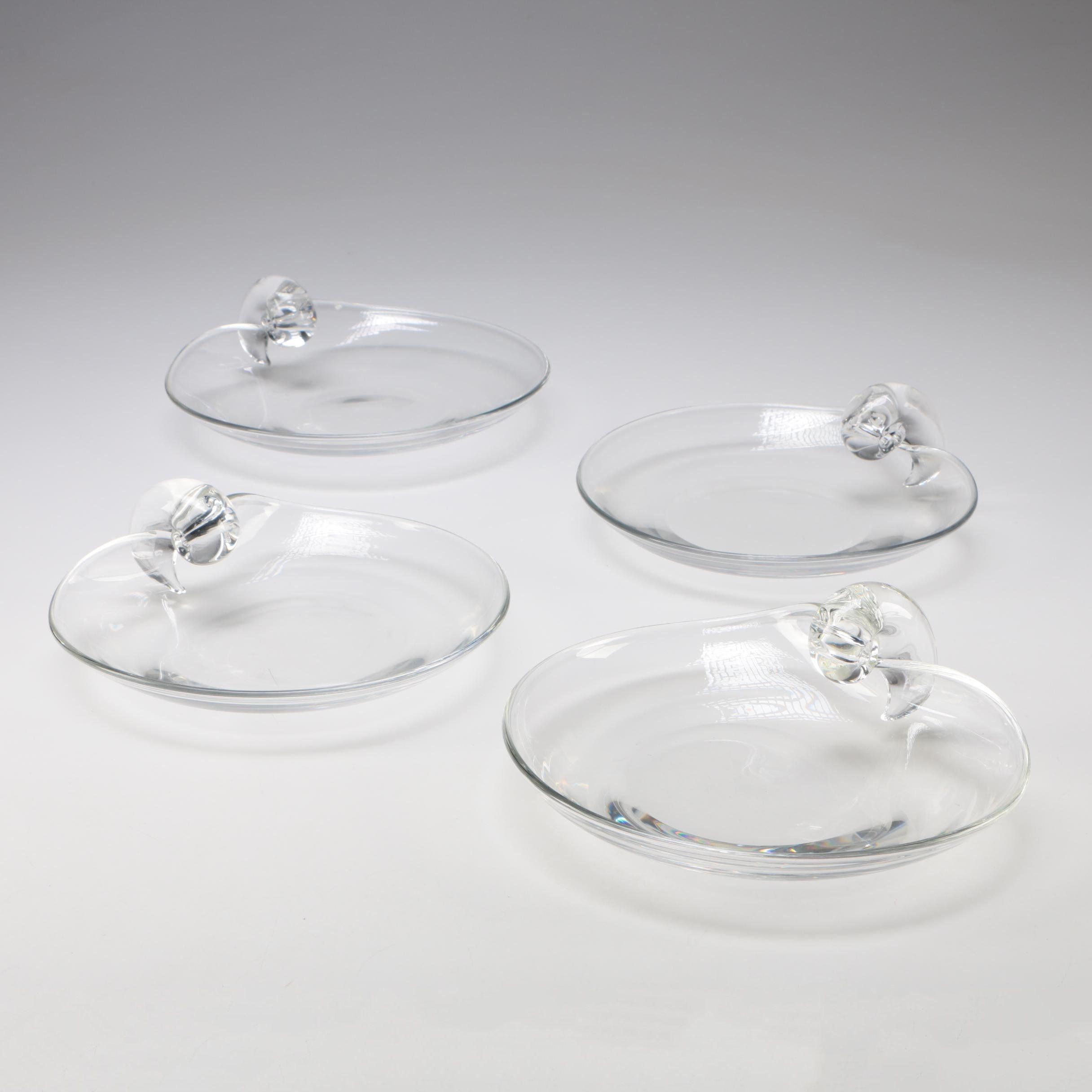 Steuben Art Glass Scroll Plates