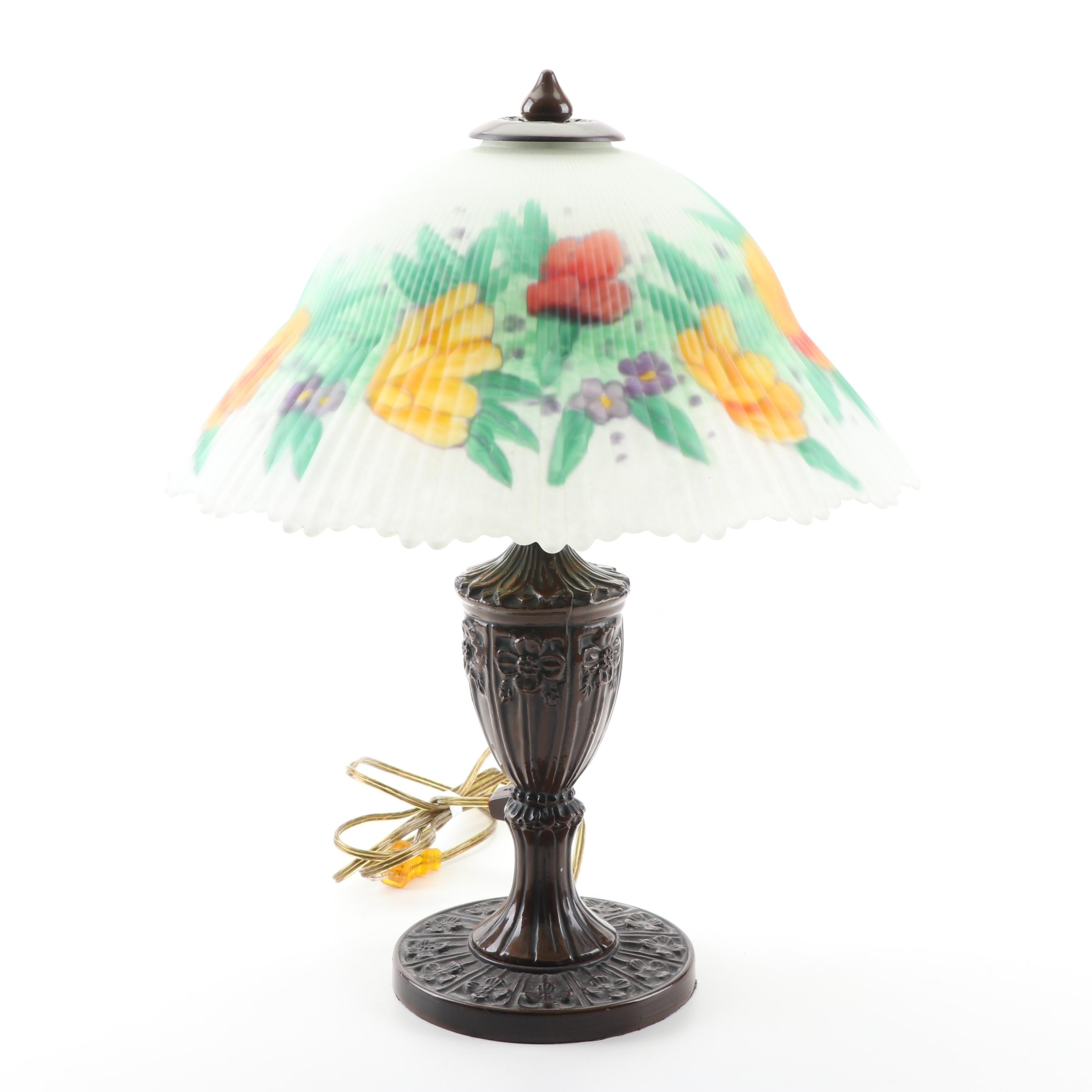 Metal Table Lamp with a Reverse Hand-Painted Glass Shade