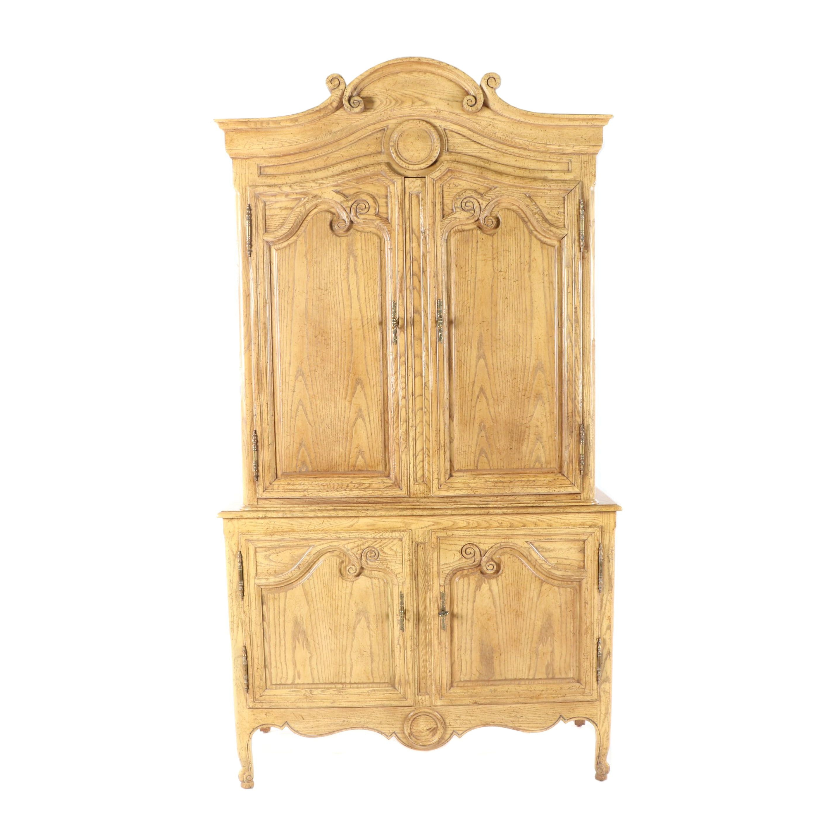 French Provincial Style Oak Entertainment Armoire by Baker, 21st Century