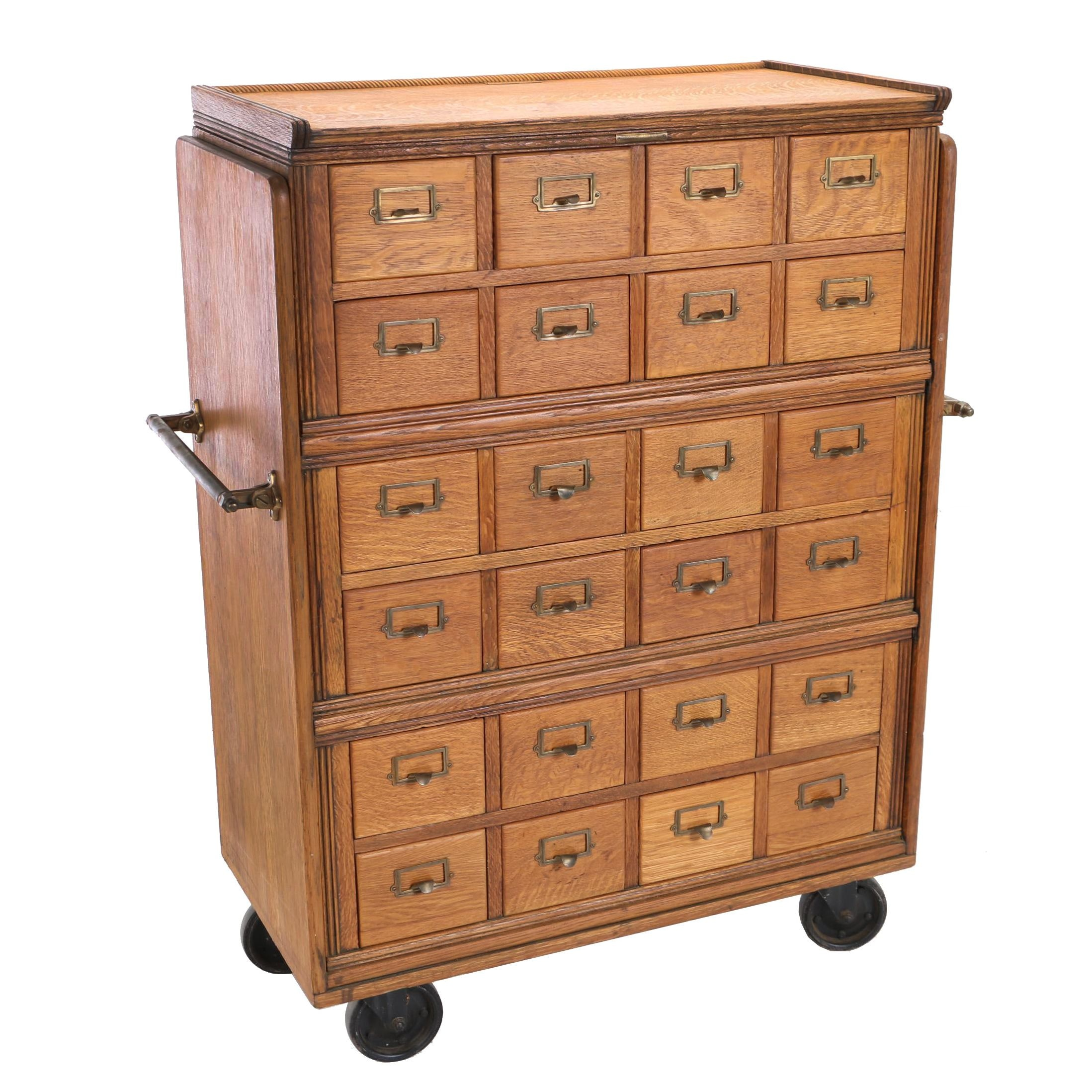 Oak Rolling Library Card Catalog by Yawman and Erbe Mfg. Co., Early 20th Century