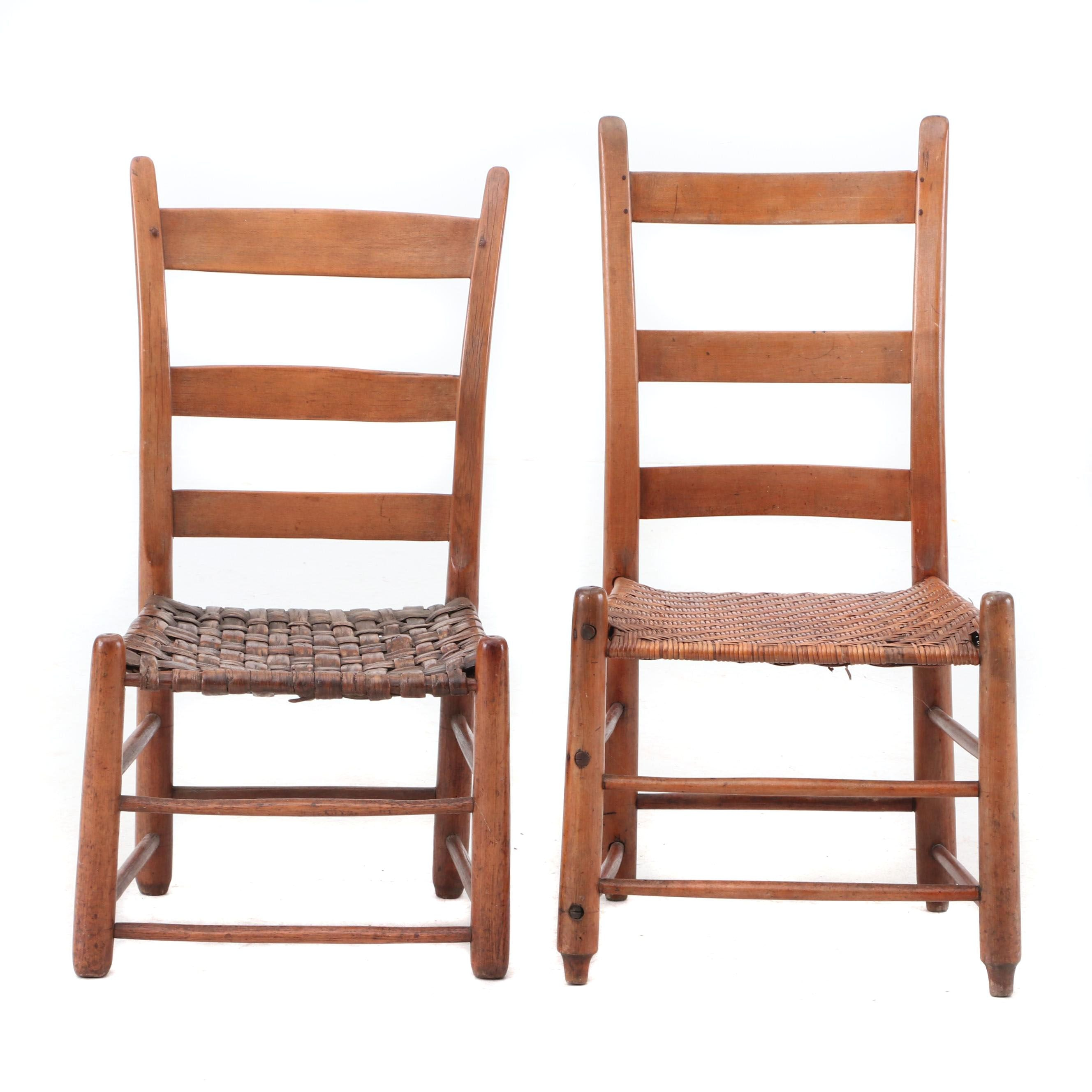 Pairing of 19th Century Ladder-Back Chairs