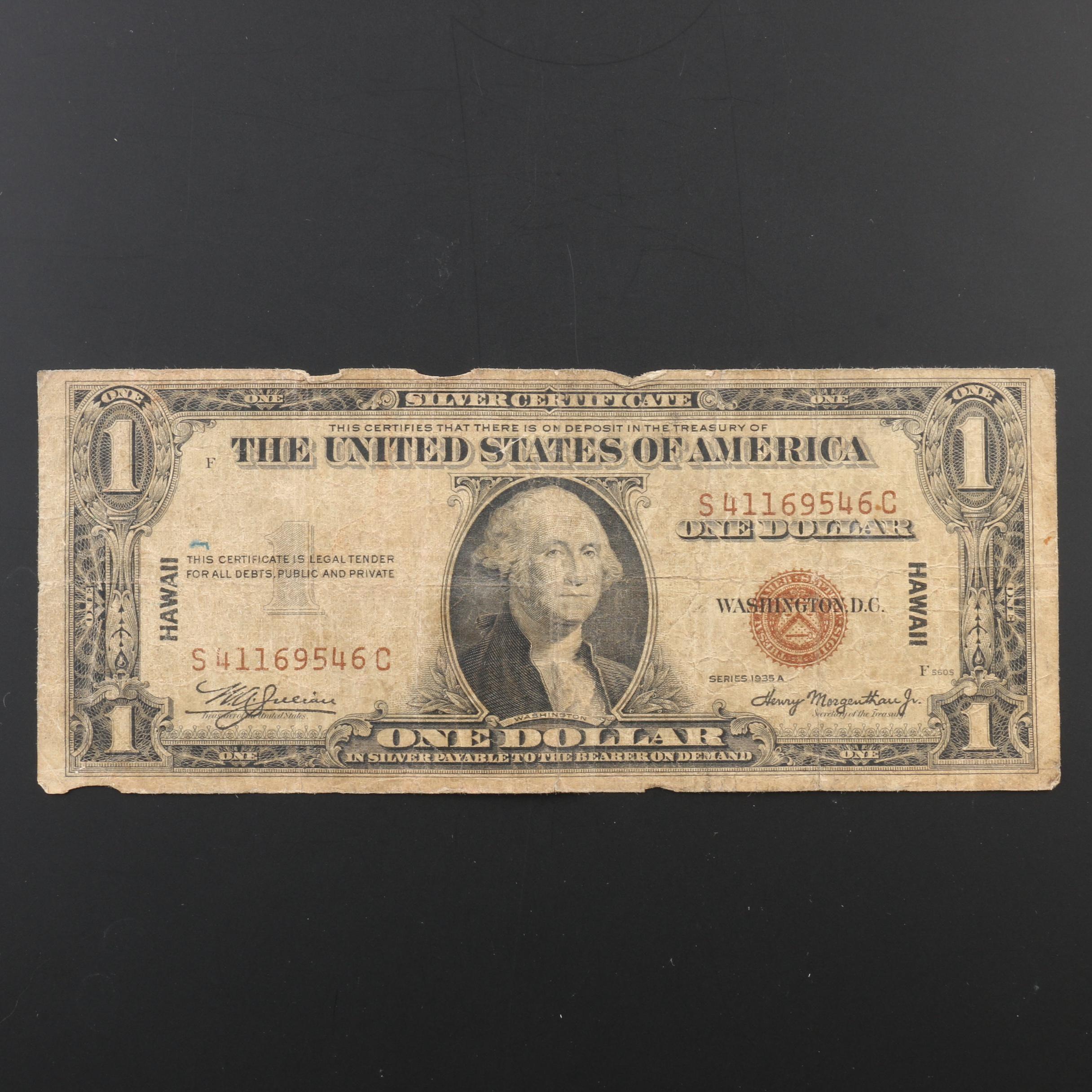 Series of 1935-A Hawaii $1 Brown Seal Silver Certificate