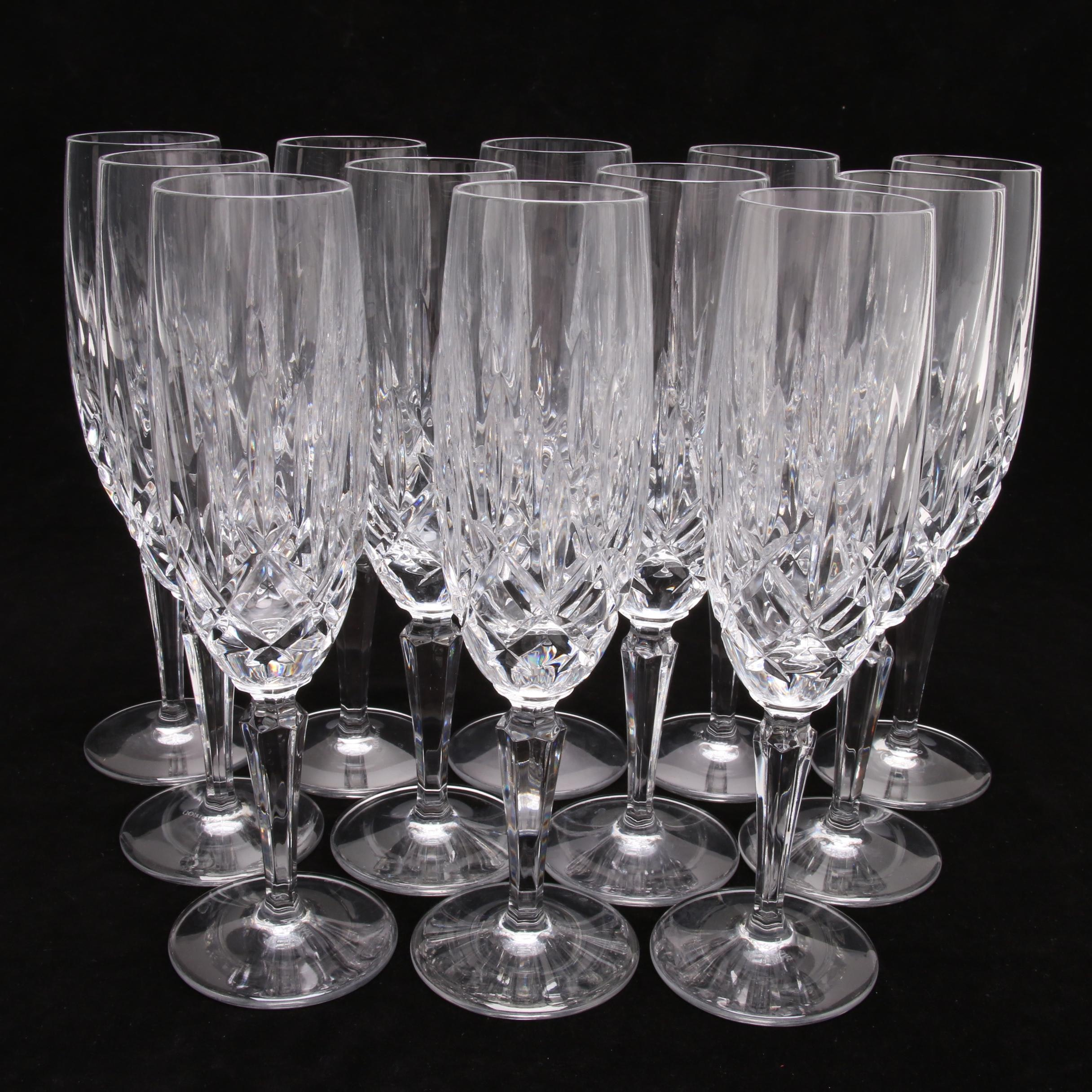 """Gorham Crystal """"Lady Anne"""" Fluted Champagne Glasses"""
