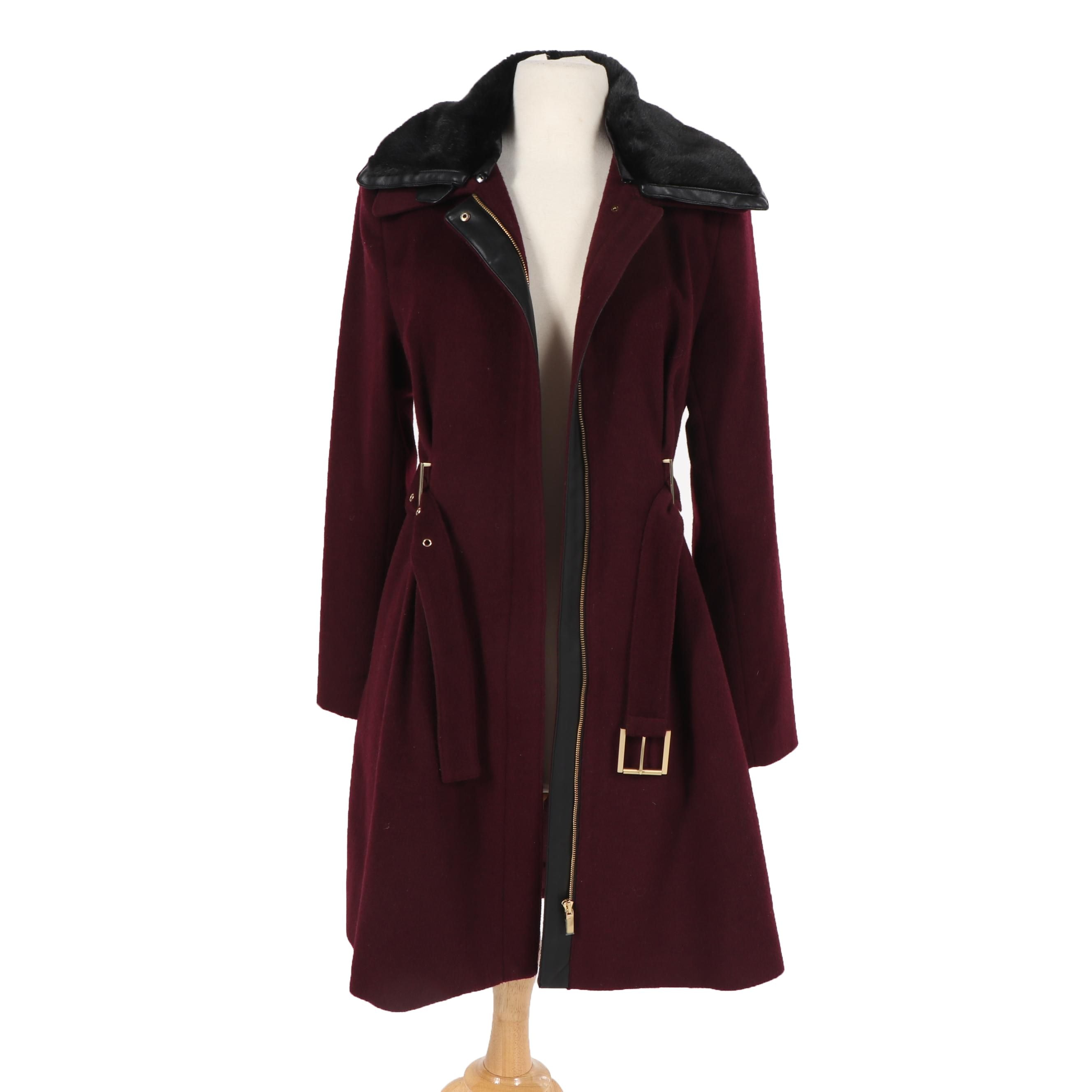 Belle Badgley Mischka Burgundy Wool Coat with Removable Faux Fur Collar