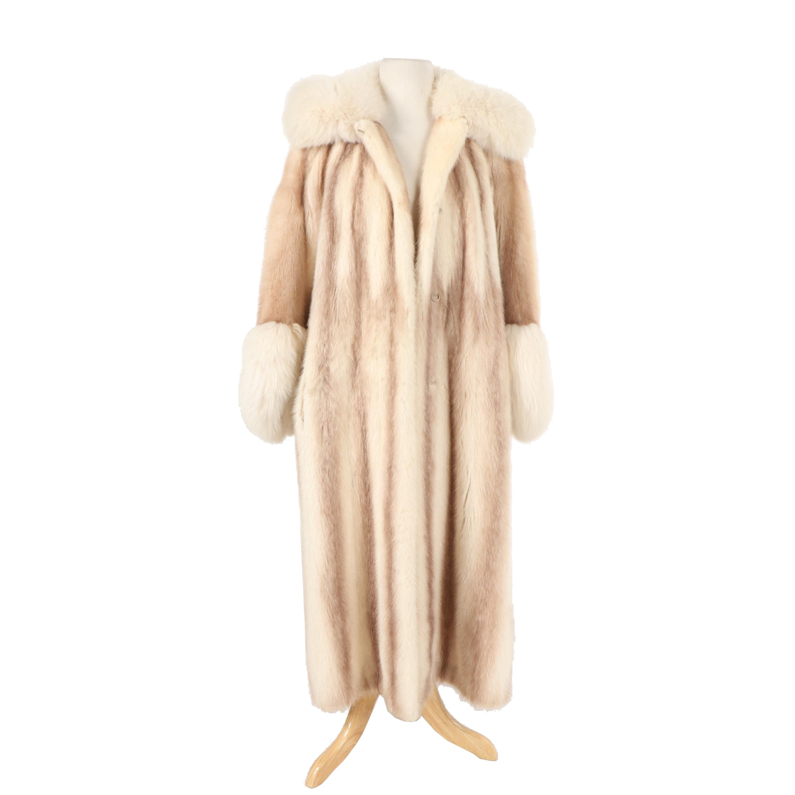 Women's Arcturus Mink Fur Coat with Hood and Fox Fur Trim