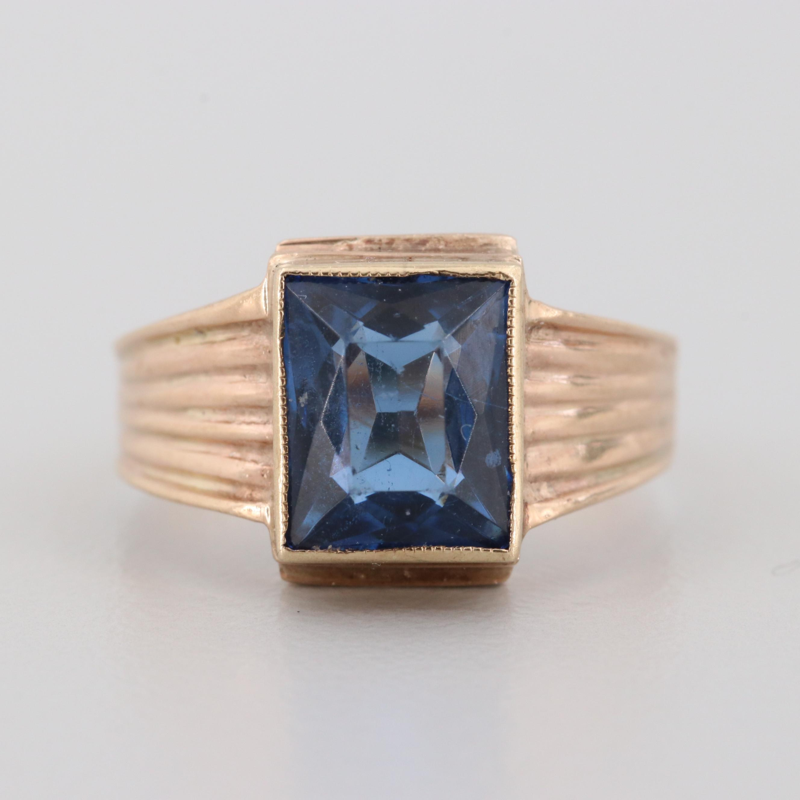 10K Yellow Gold Glass Ring