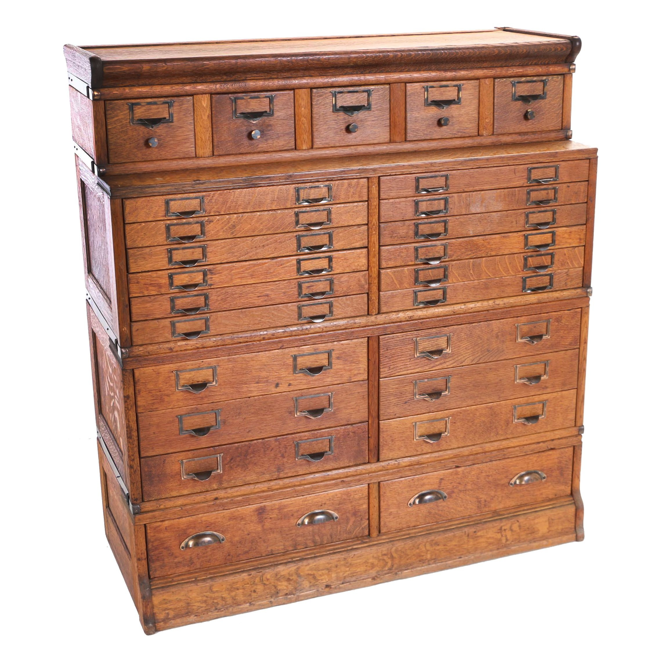 Oak Four-Section Stacking File Cabinet, Early 20th Century