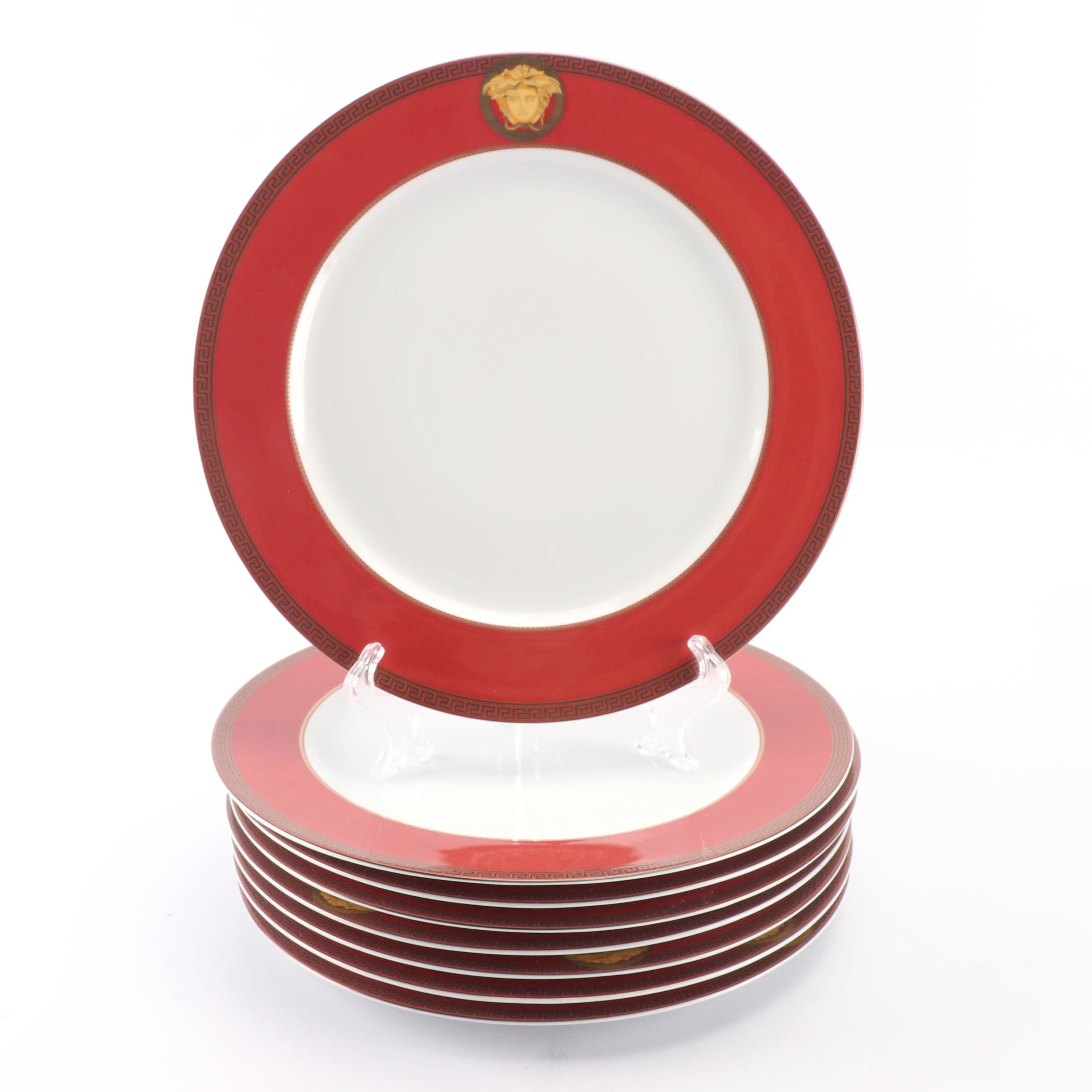"Versace for Rosenthal ""Color Collection Red"" Porcelain Service Plates"