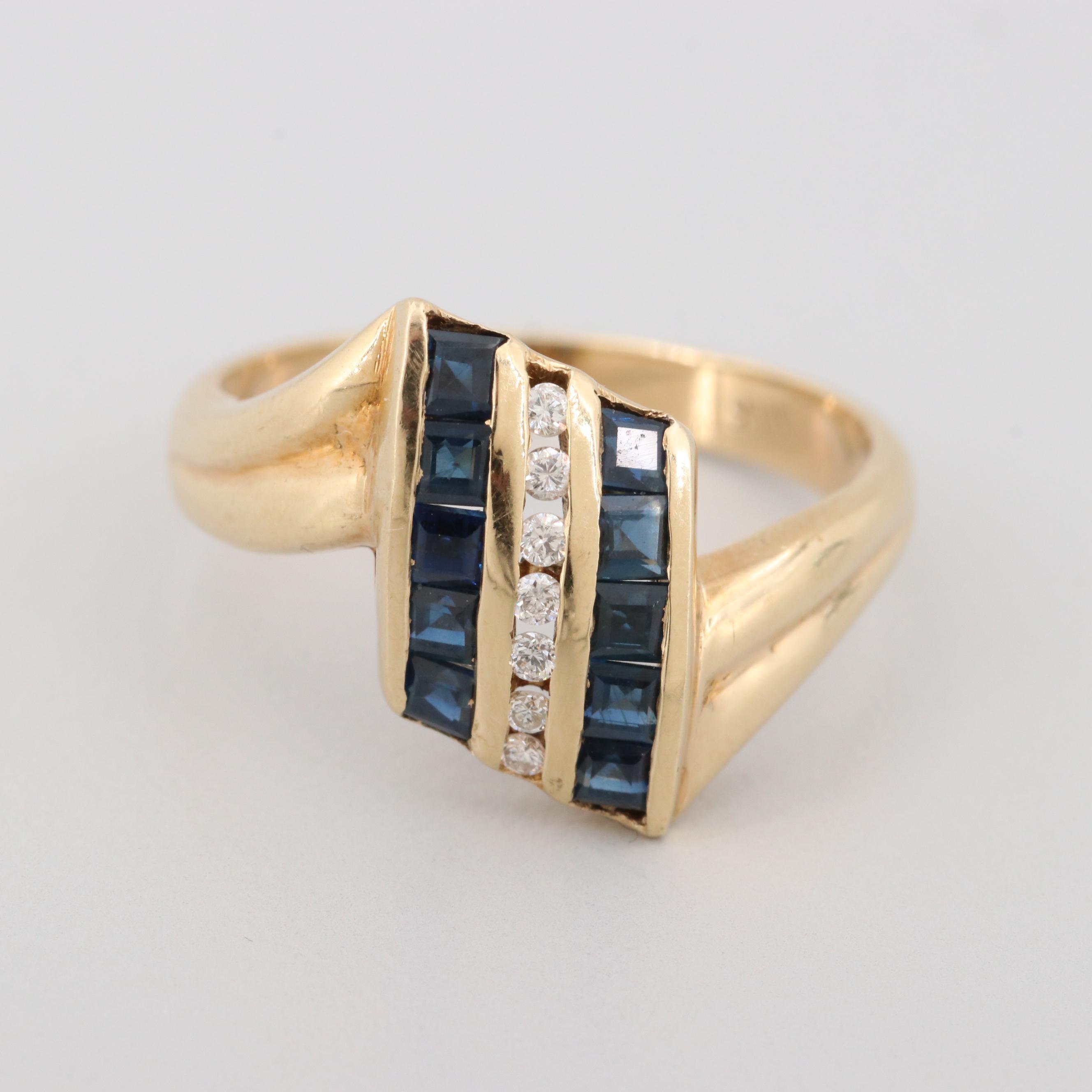 14K Yellow Gold Diamond and Blue Sapphire Ring