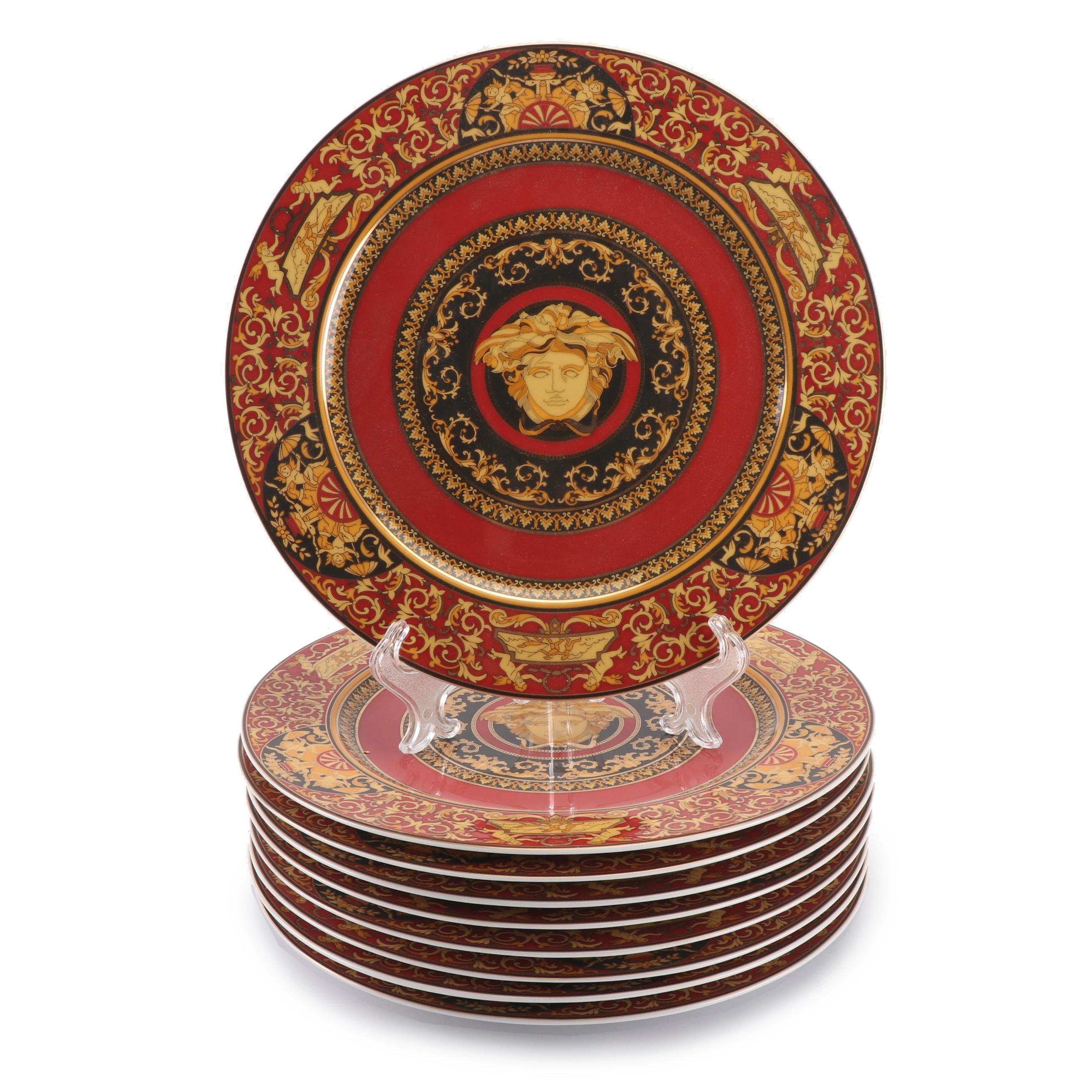 "Versace for Rosenthal ""Medusa Red"" Porcelain Service Plates"