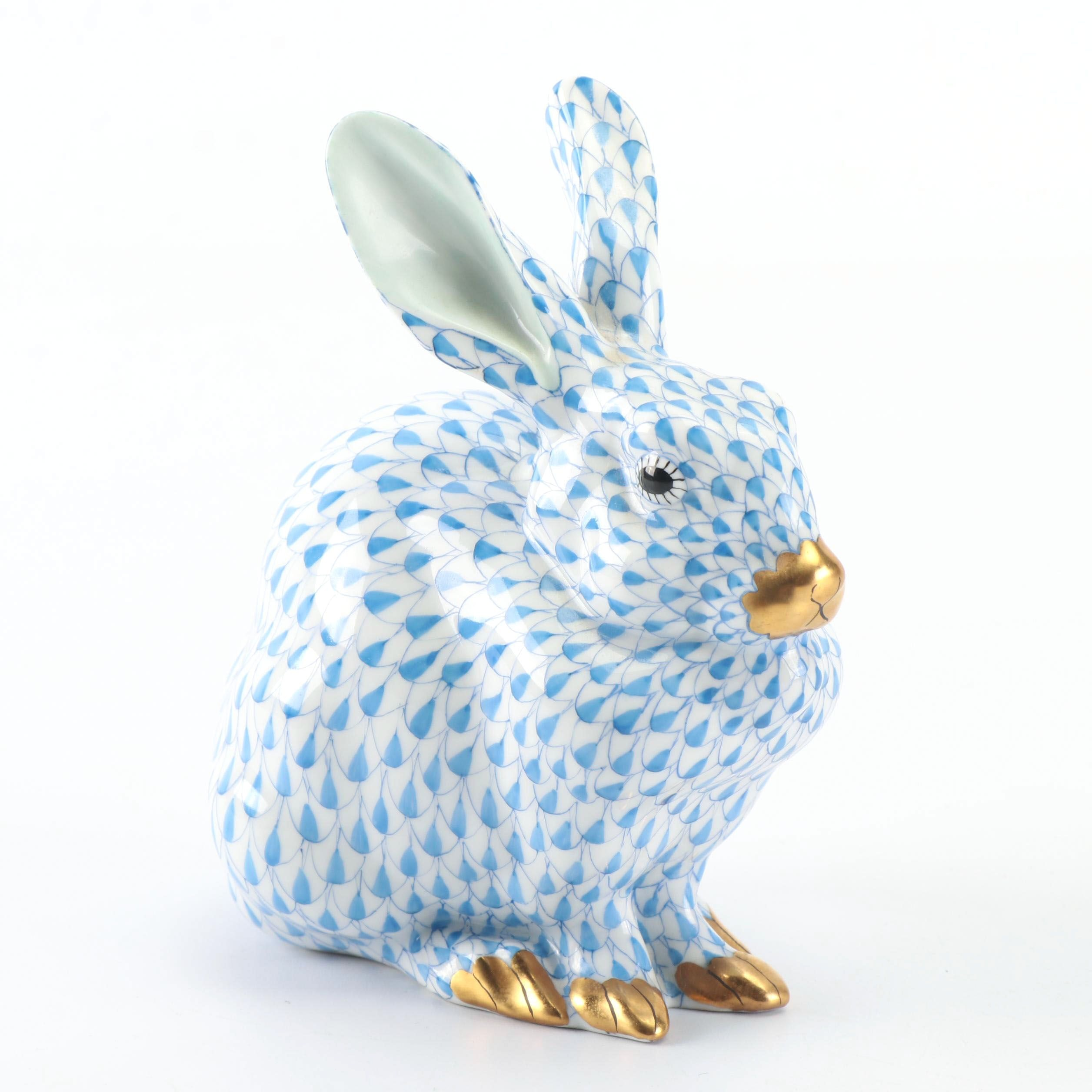 "Herend Blue ""Sitting Bunny"" Hand-Painted Porcelain Figurine"