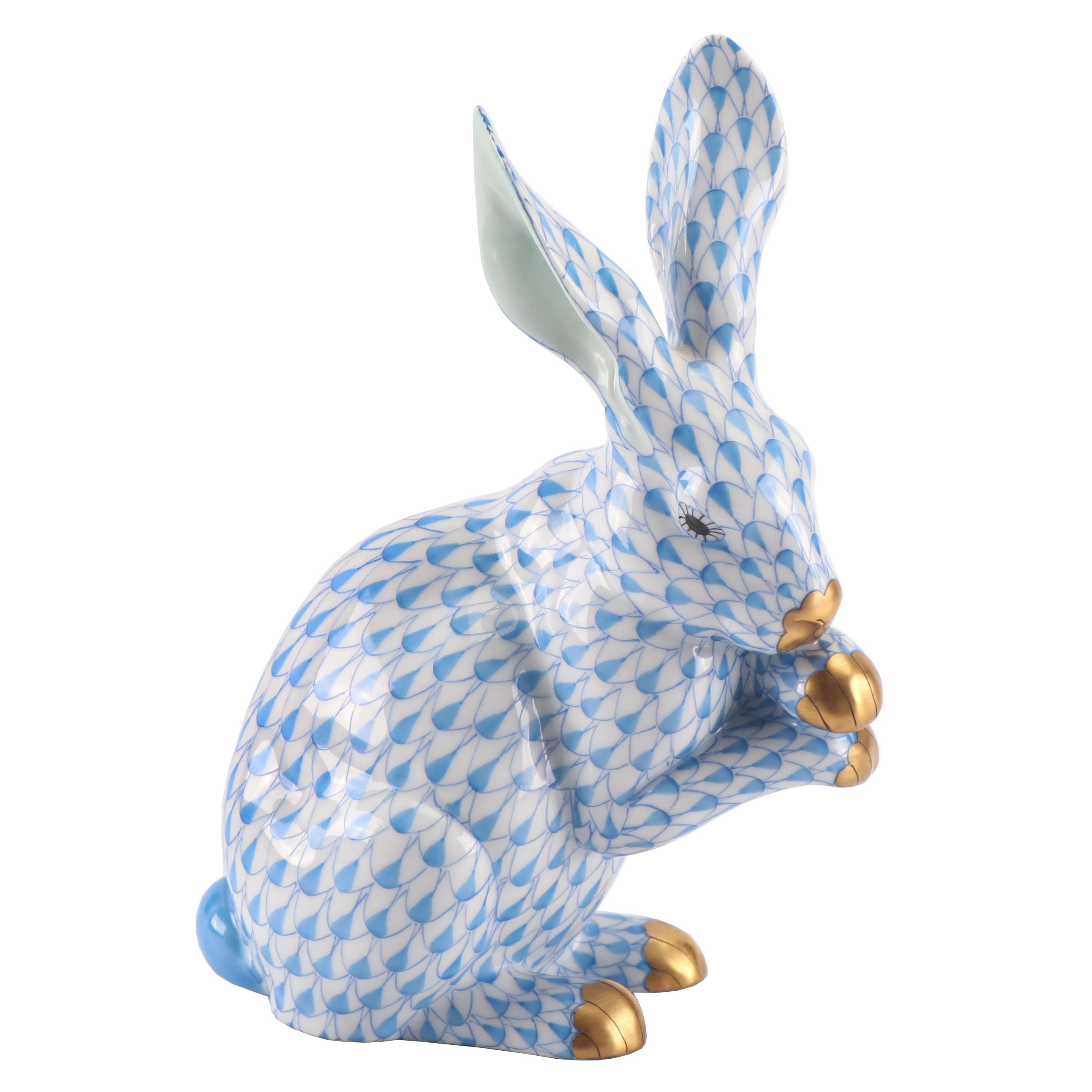 "Herend Blue ""Bunny with Crossed Paws"" Hand-Painted Porcelain Figurine"
