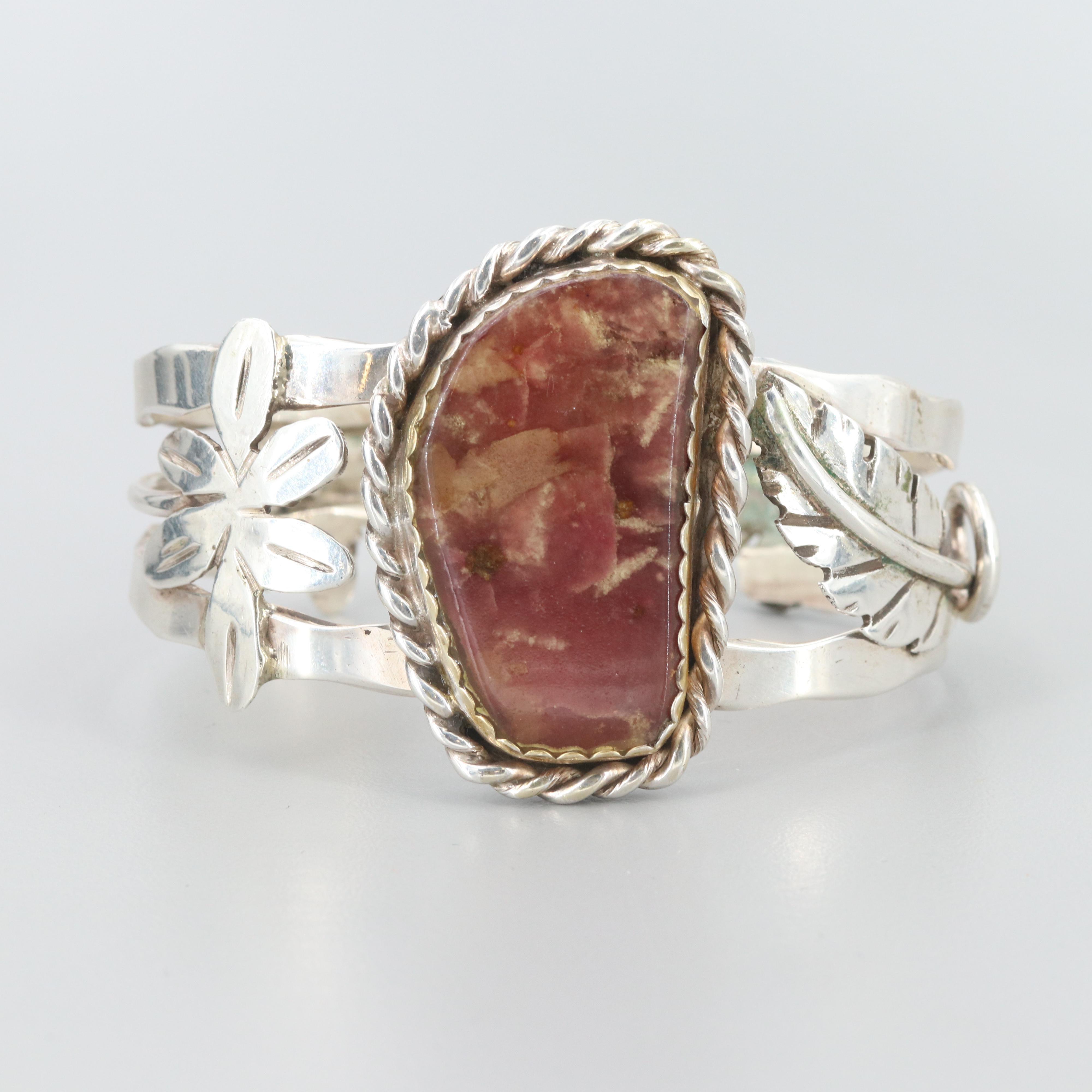 Bill Kirkham Sterling Silver Composite Stone Cuff Bracelet