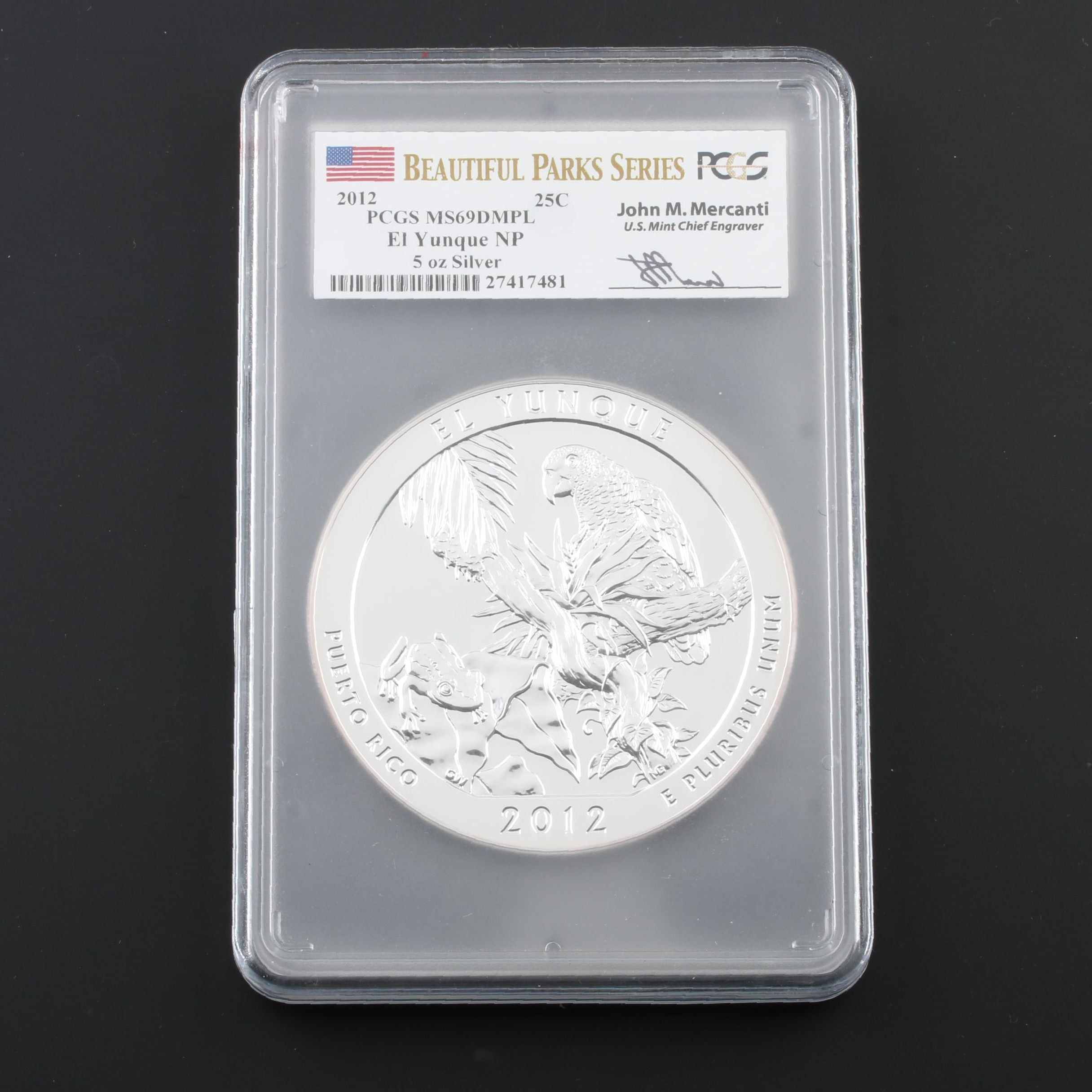 PCGS Graded MS69 DMPL 2012 Five Ounce .999 Silver El Yunque Quarter