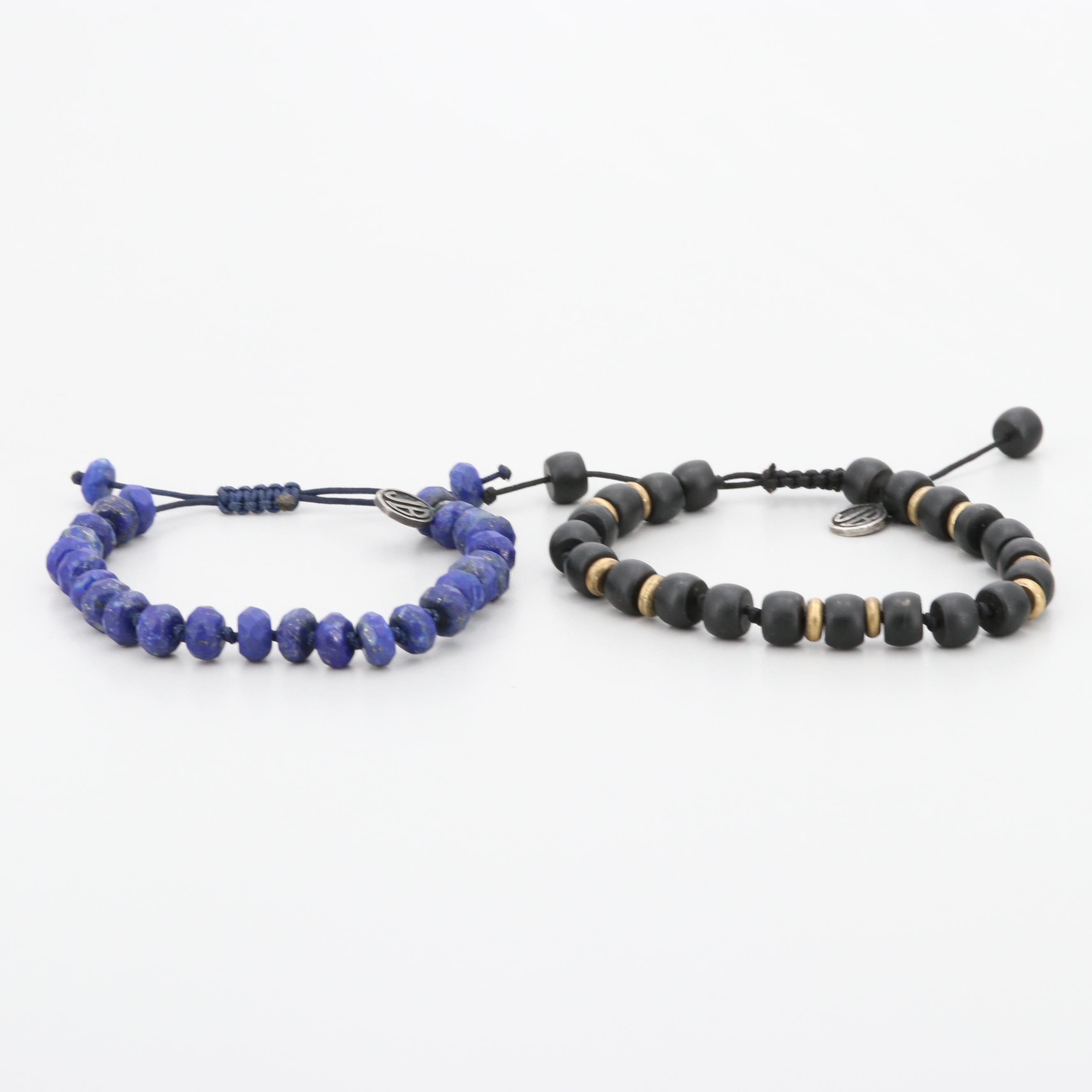 Sterling Silver and Gold Tone Lapis Lazuli and Glass Bracelets