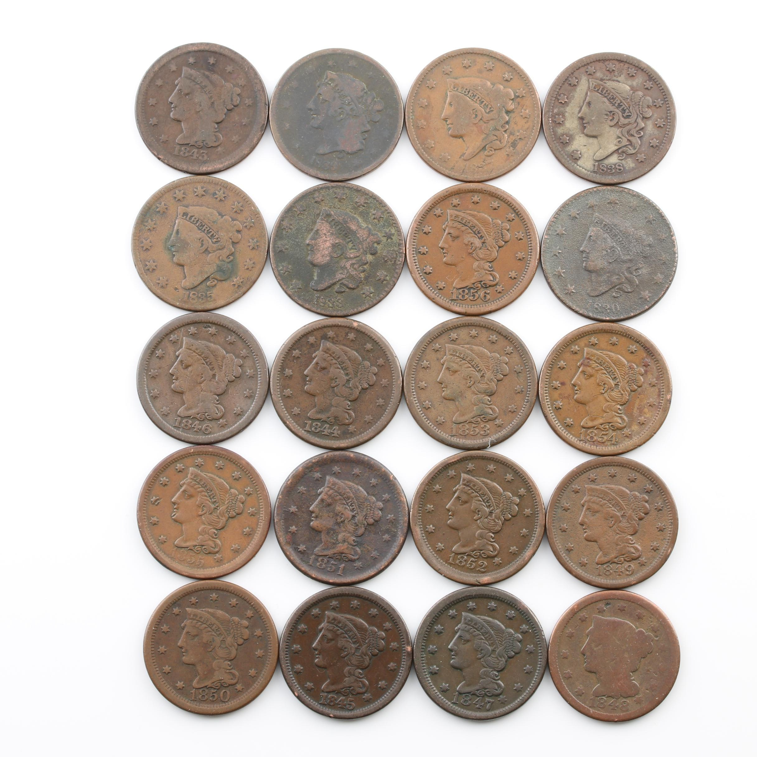Roll of Twenty Various U.S. Large Cent Coins