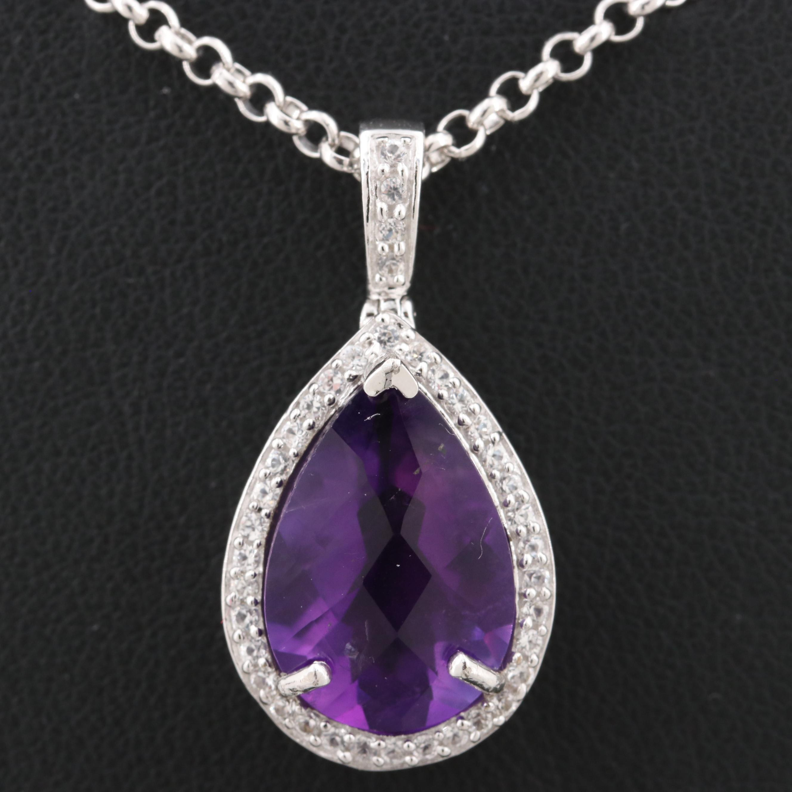 Sterling Silver Amethyst Pendant with Sterling Silver Chain Necklace