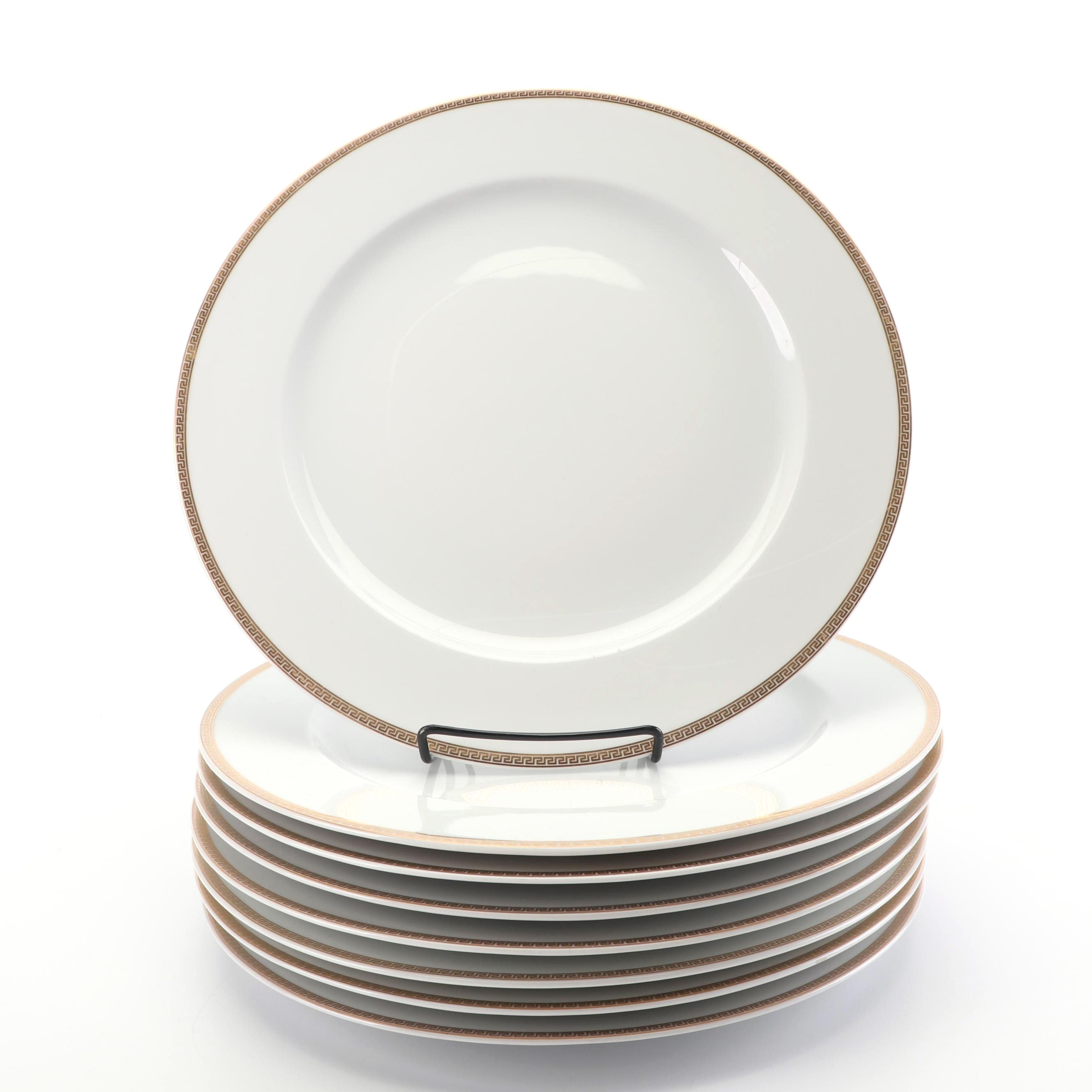 """Versace for Rosenthal """"Medaillon Meandre D'Or"""" Service Plates, Set of Eight"""