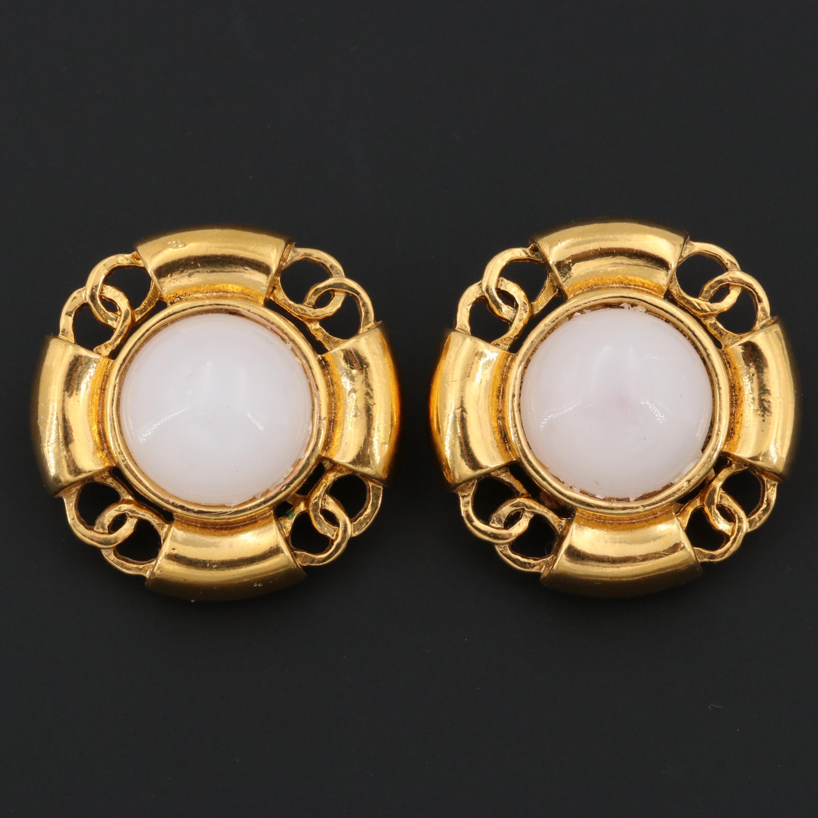 1993 Chanel Gold Tone Glass Clip-On Earrings