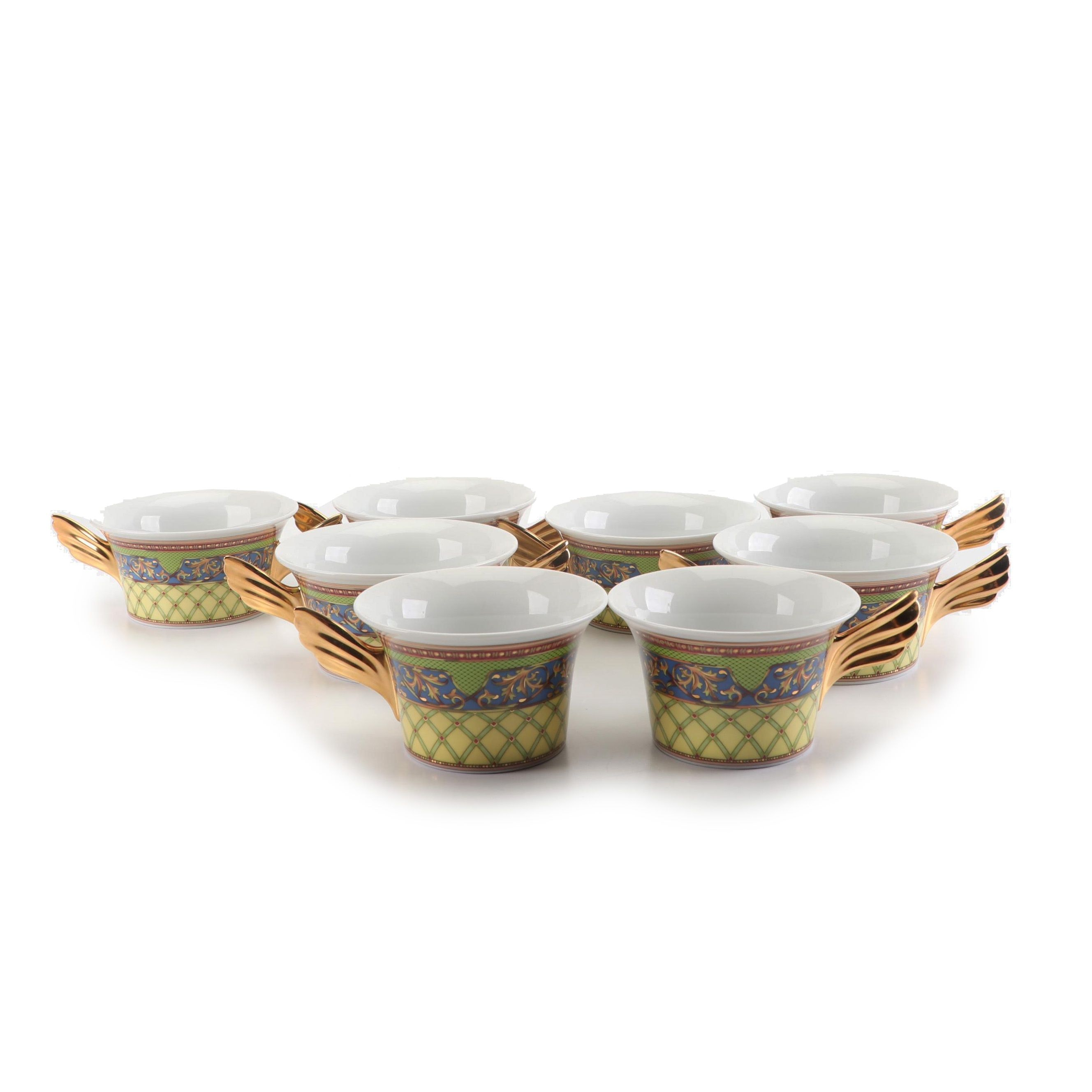 """Versace for Rosenthal """"Russian Dream"""" Porcelain Flat Cups and Cream Soup Bowl"""