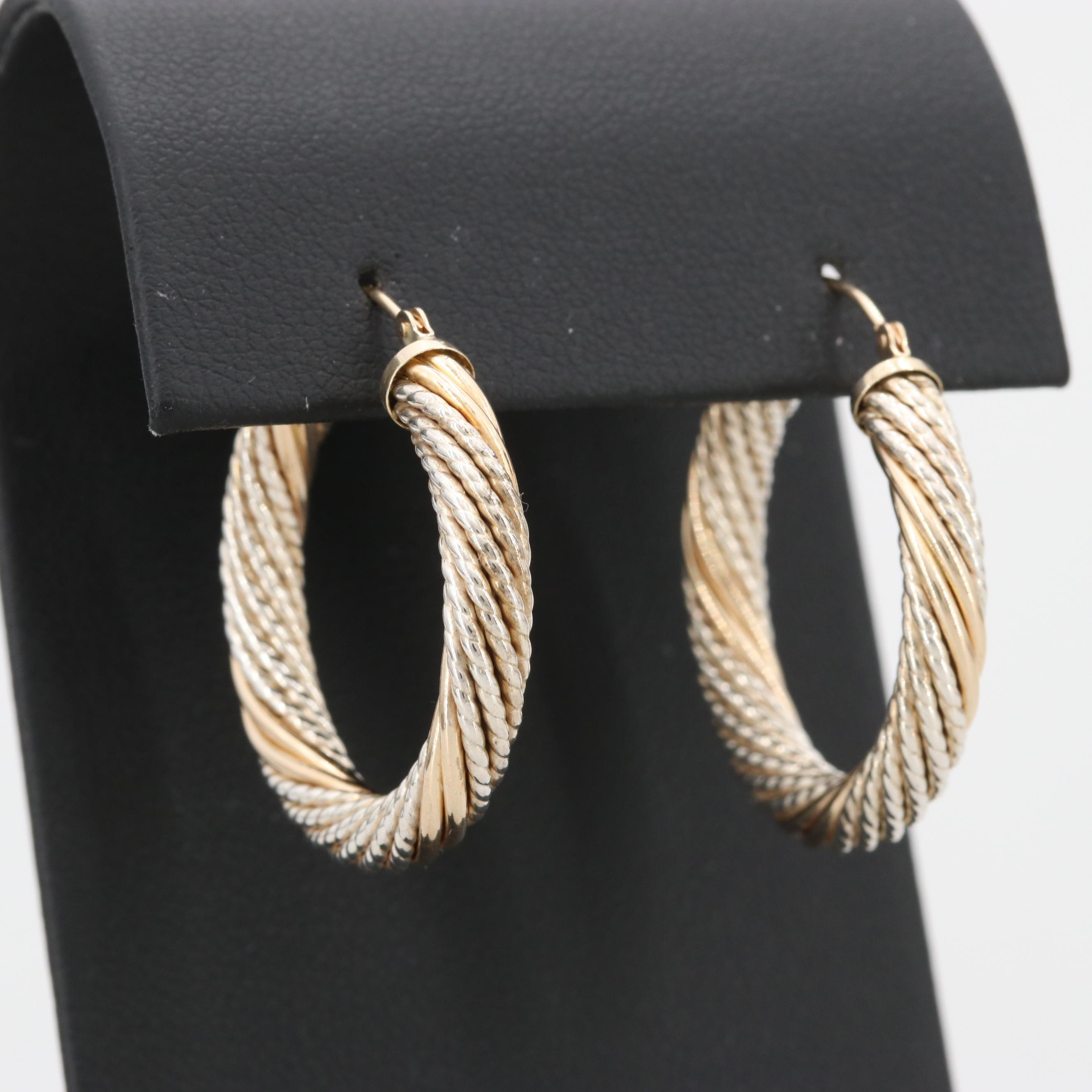 14K Yellow Gold and Sterling Silver Hoop Earrings
