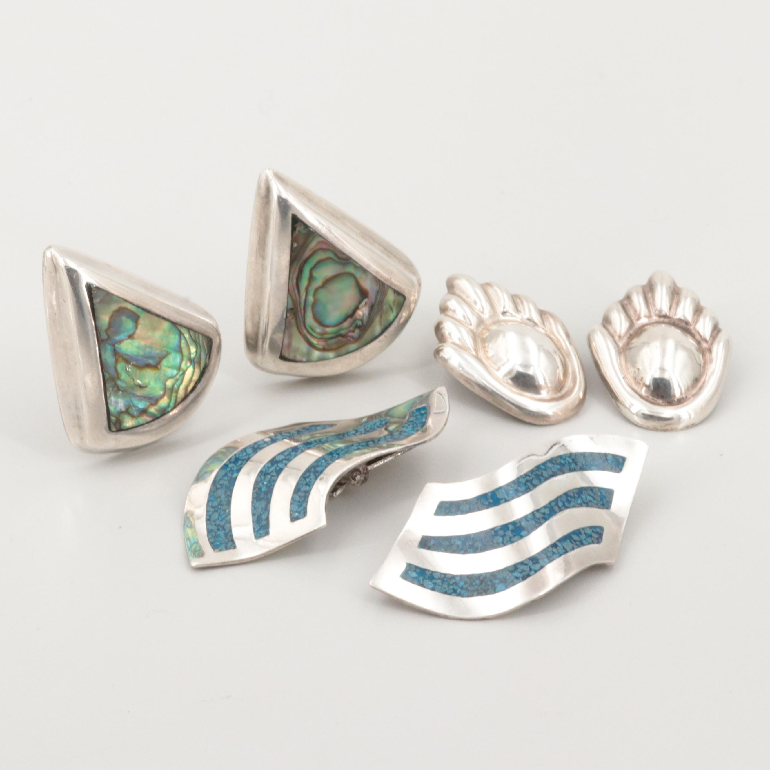 Vintage Mexican Sterling Silver Abalone and Chip Stone in Resin Earrings