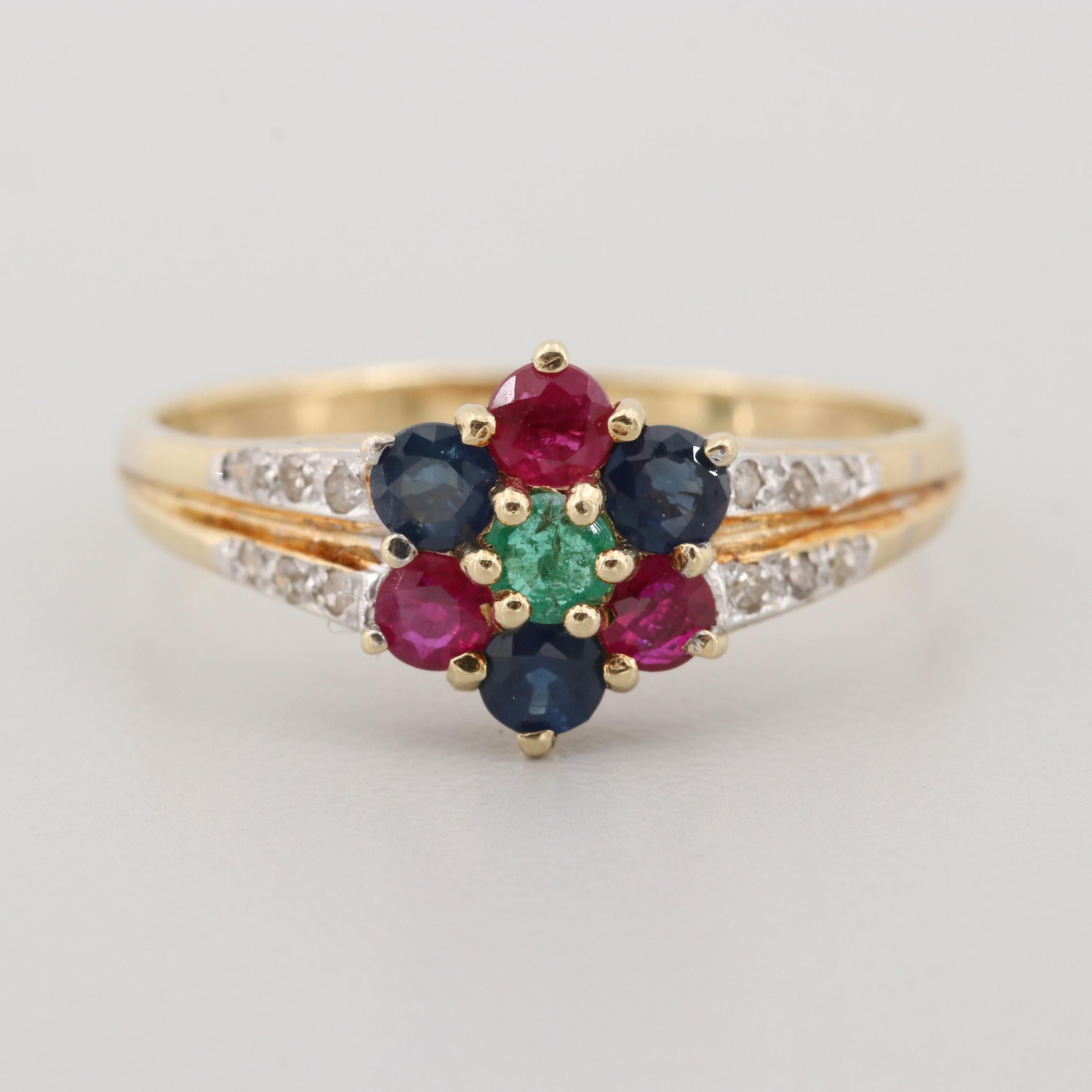 14K Yellow Gold Emerald, Ruby, Blue Sapphire, and Diamond Ring