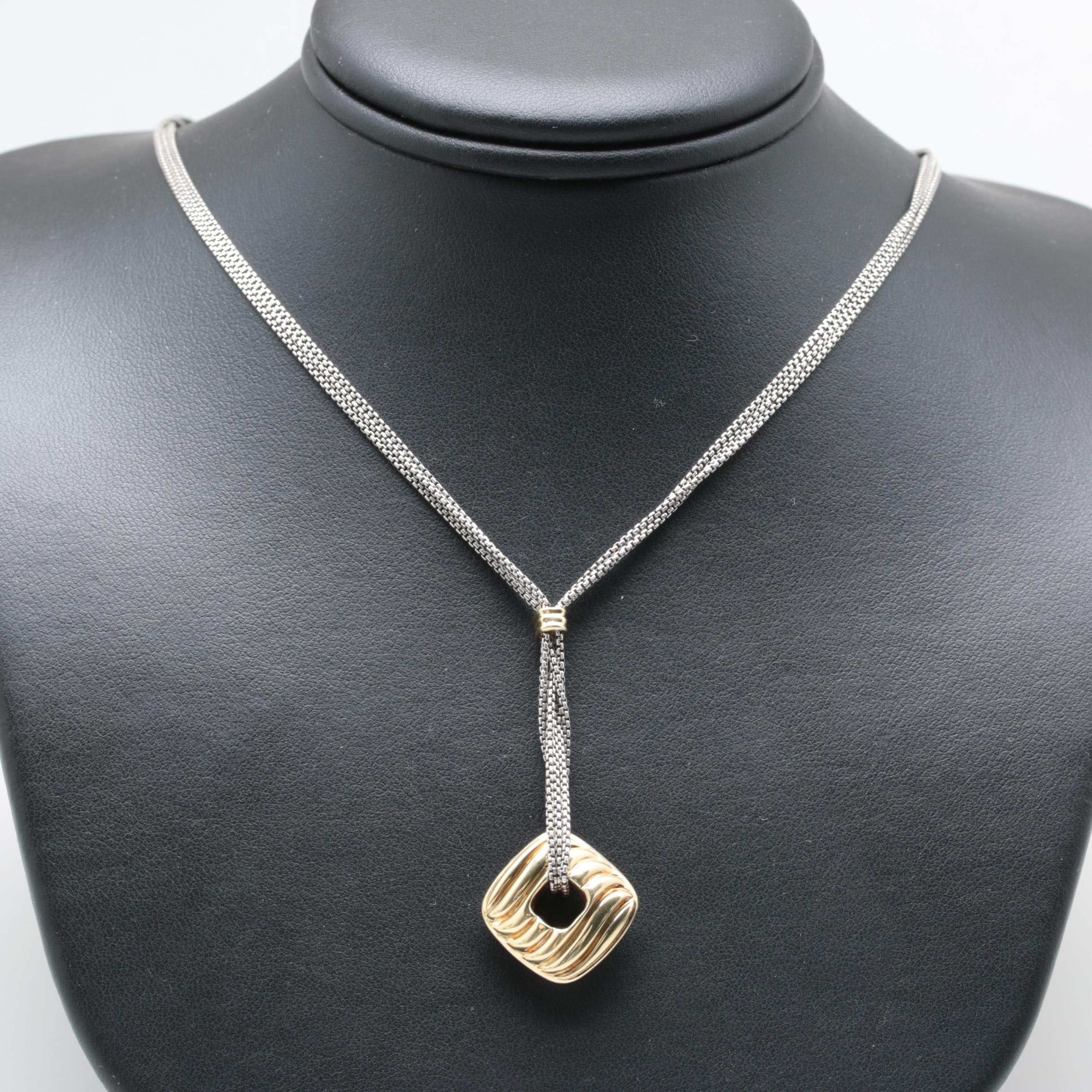 David Yurman Sterling Silver Necklace with 18K Yellow Gold Accents