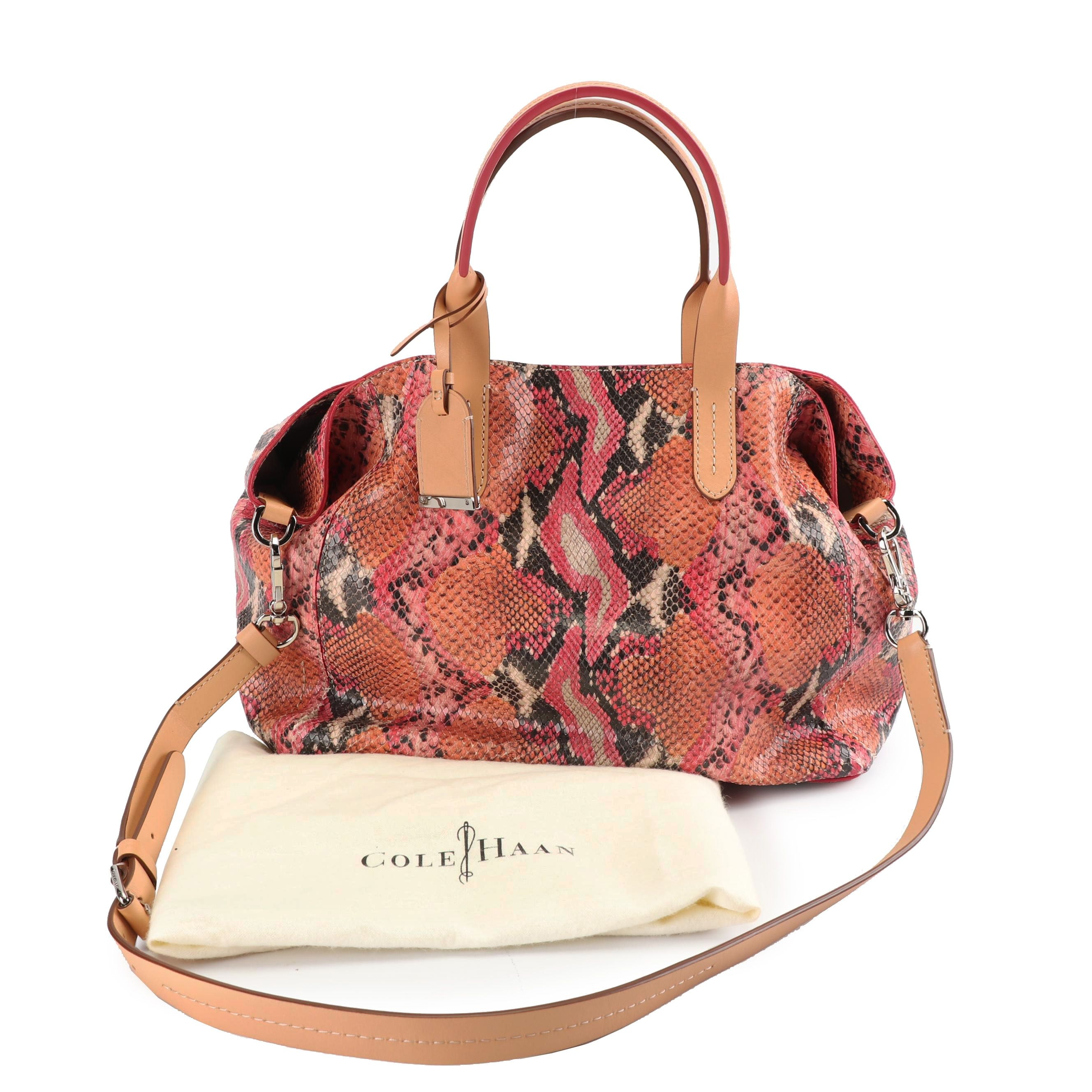 Cole Haan Python Embossed Multicolor Leather Satchel with Dust Bag