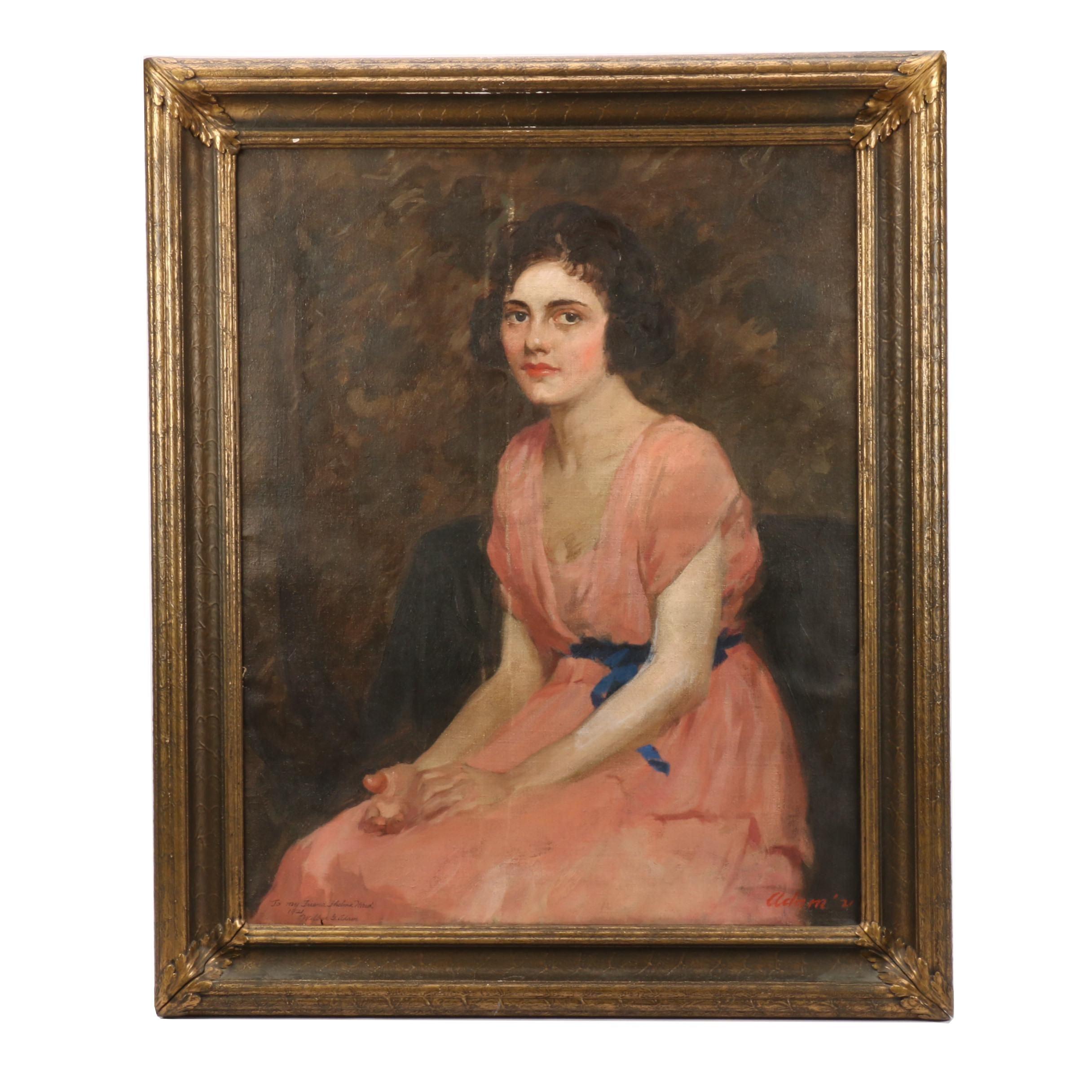 Wilbur G. Adam 1921 Portrait Oil Painting of Woman in Pink Dress