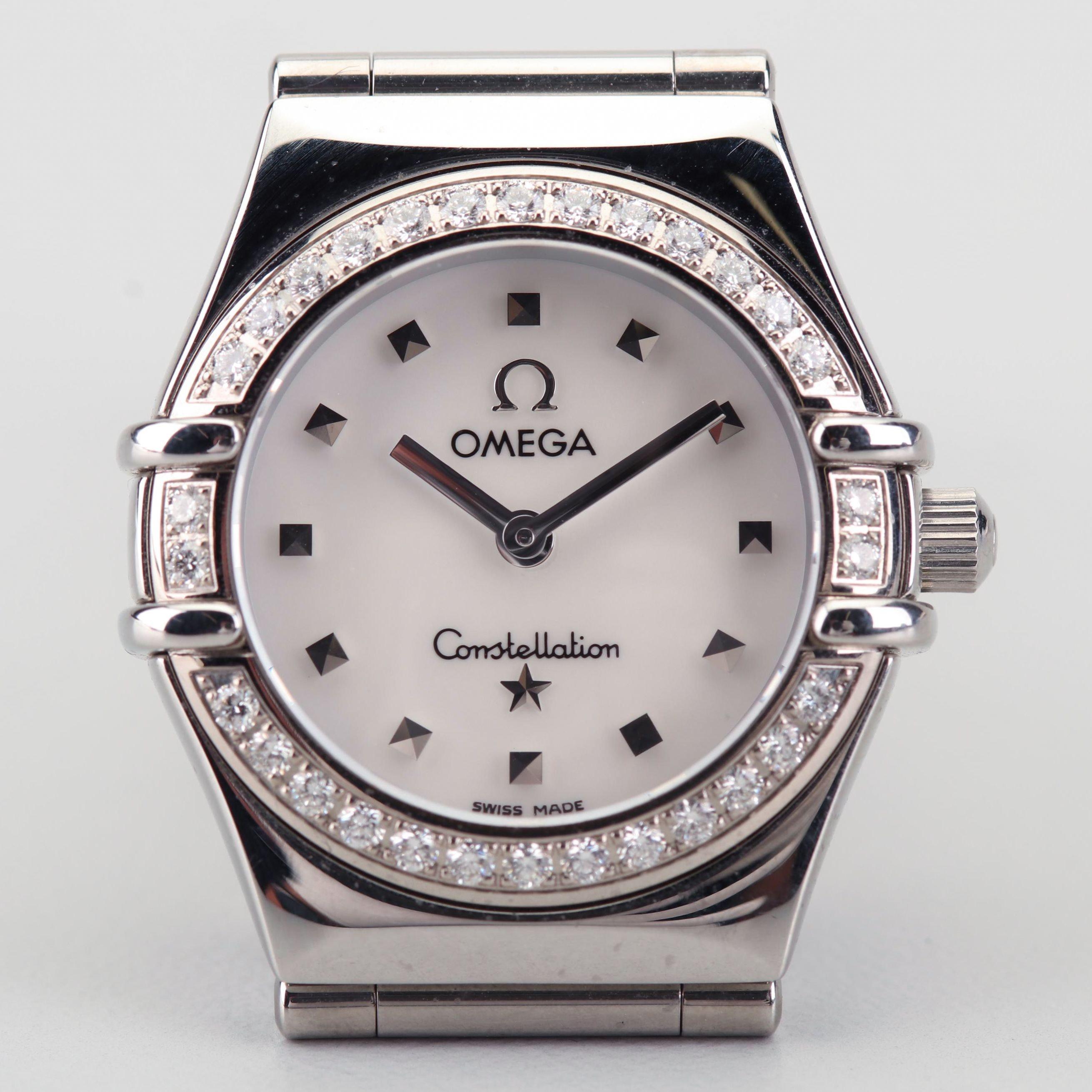 Omega Constellation 18K White Gold Diamond Bezel Stainless Steel Wristwatch
