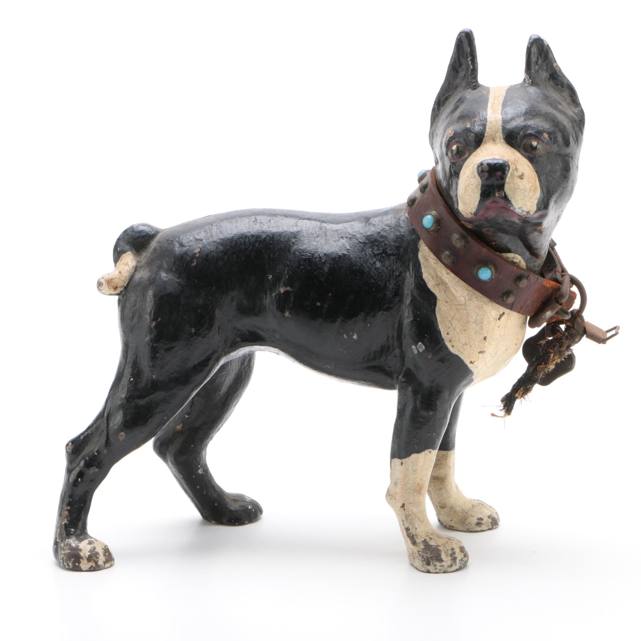 Hubley Style Cast Iron Boston Terrier Doorstop