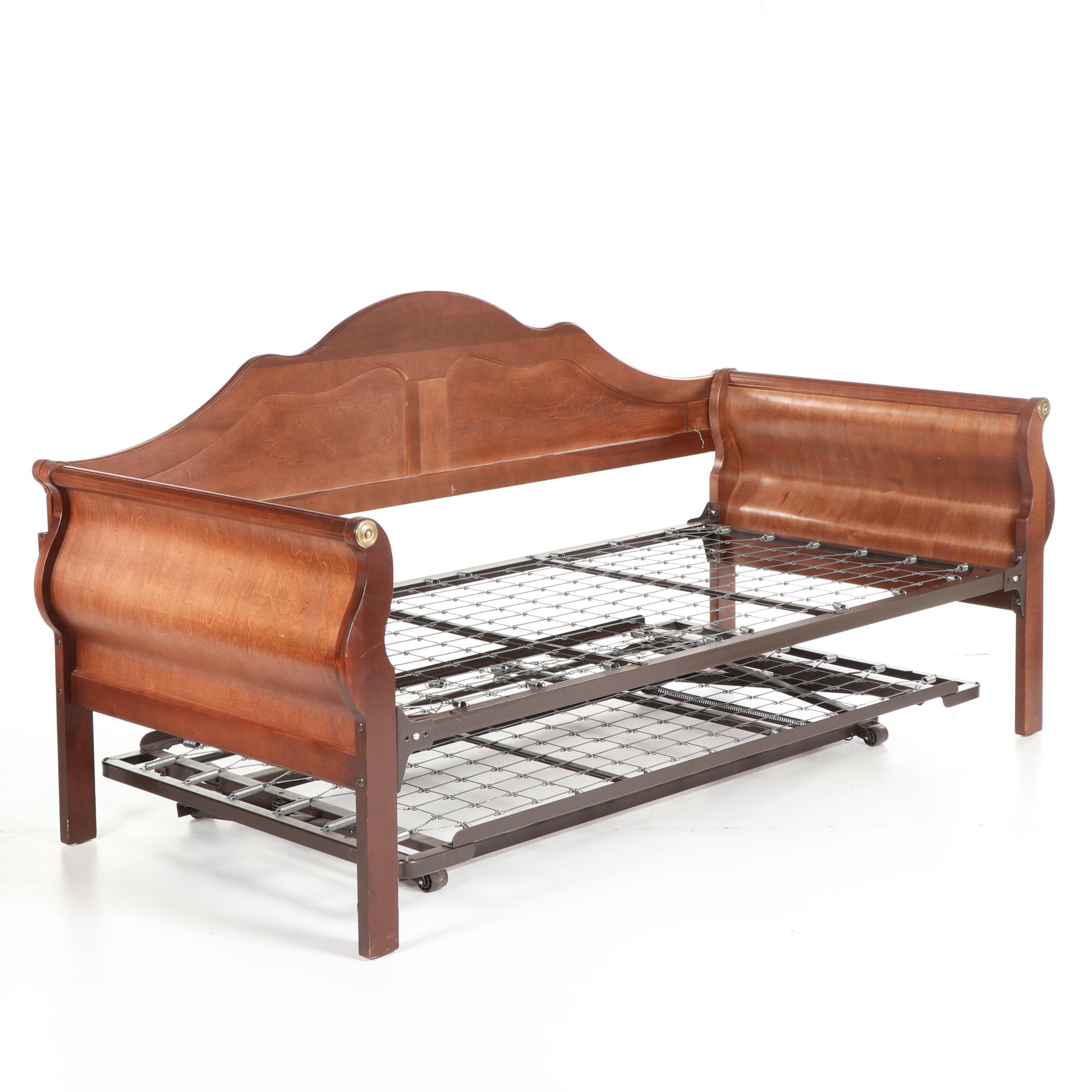 Veneered Sleigh Daybed with Trundle, 20th Century
