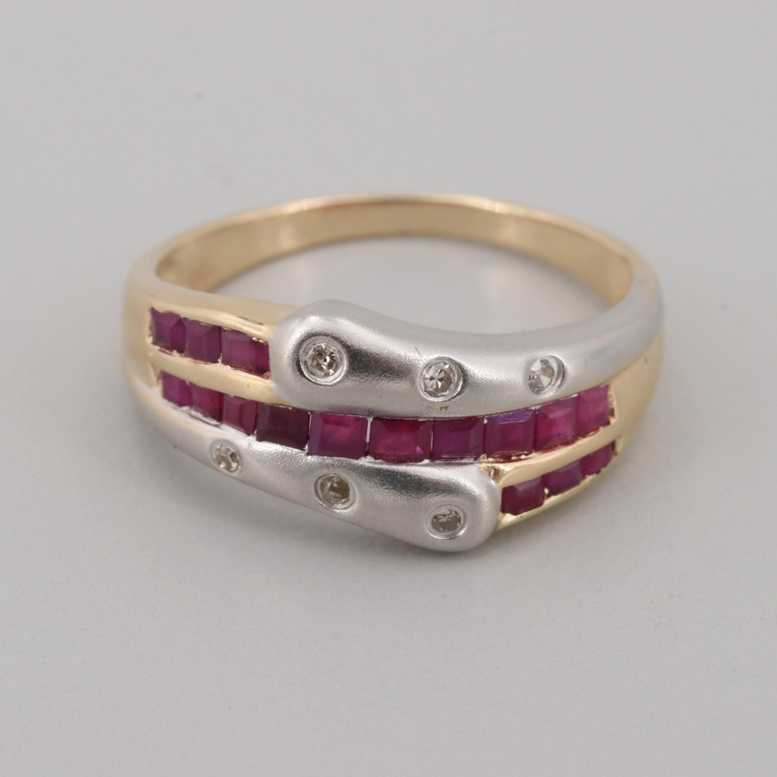 10K Yellow Gold Ruby and Diamond Ring with Rhodium Accent