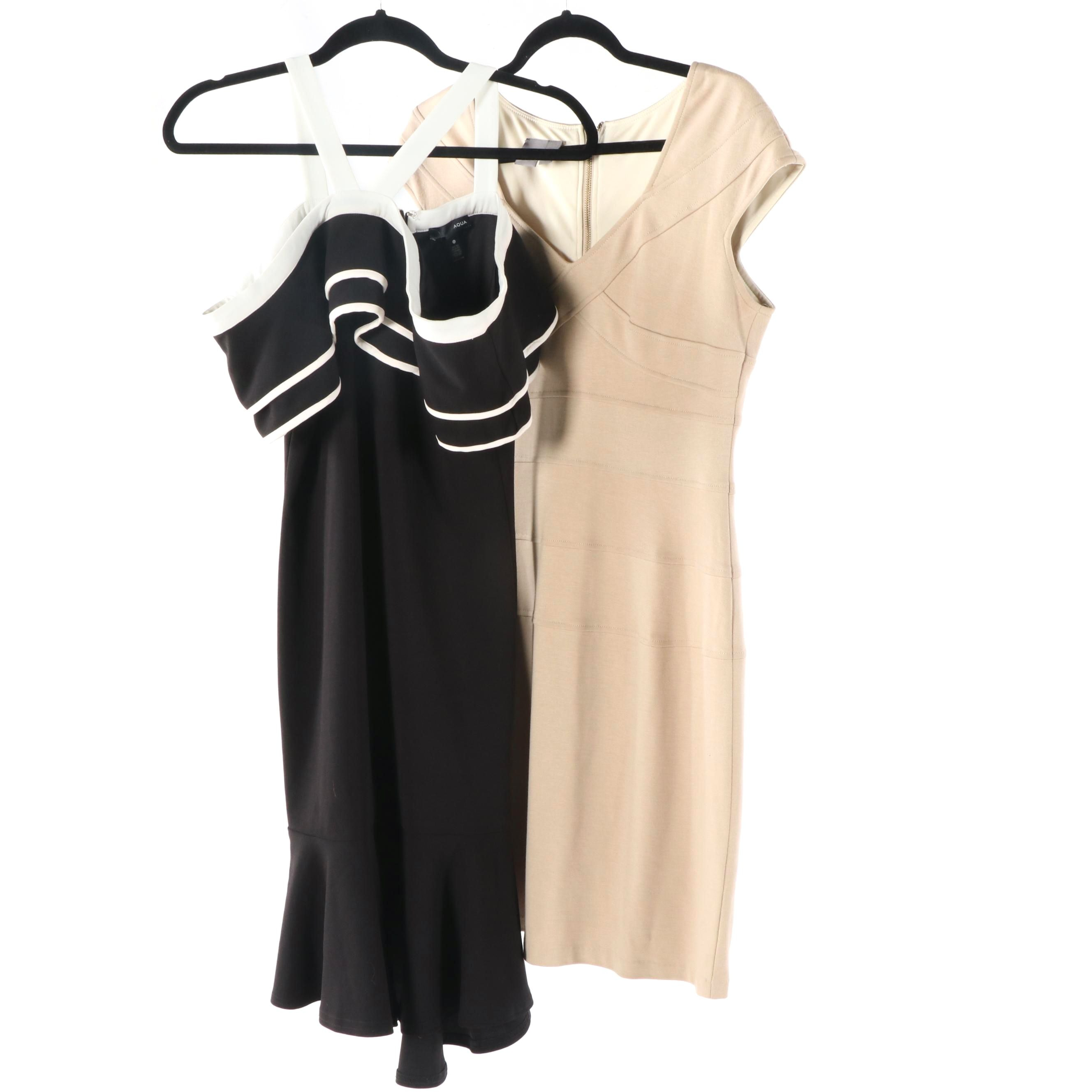 Aqua Black and White Sleeveless Dress and Muse Beige Dress with V-Cut Neckline