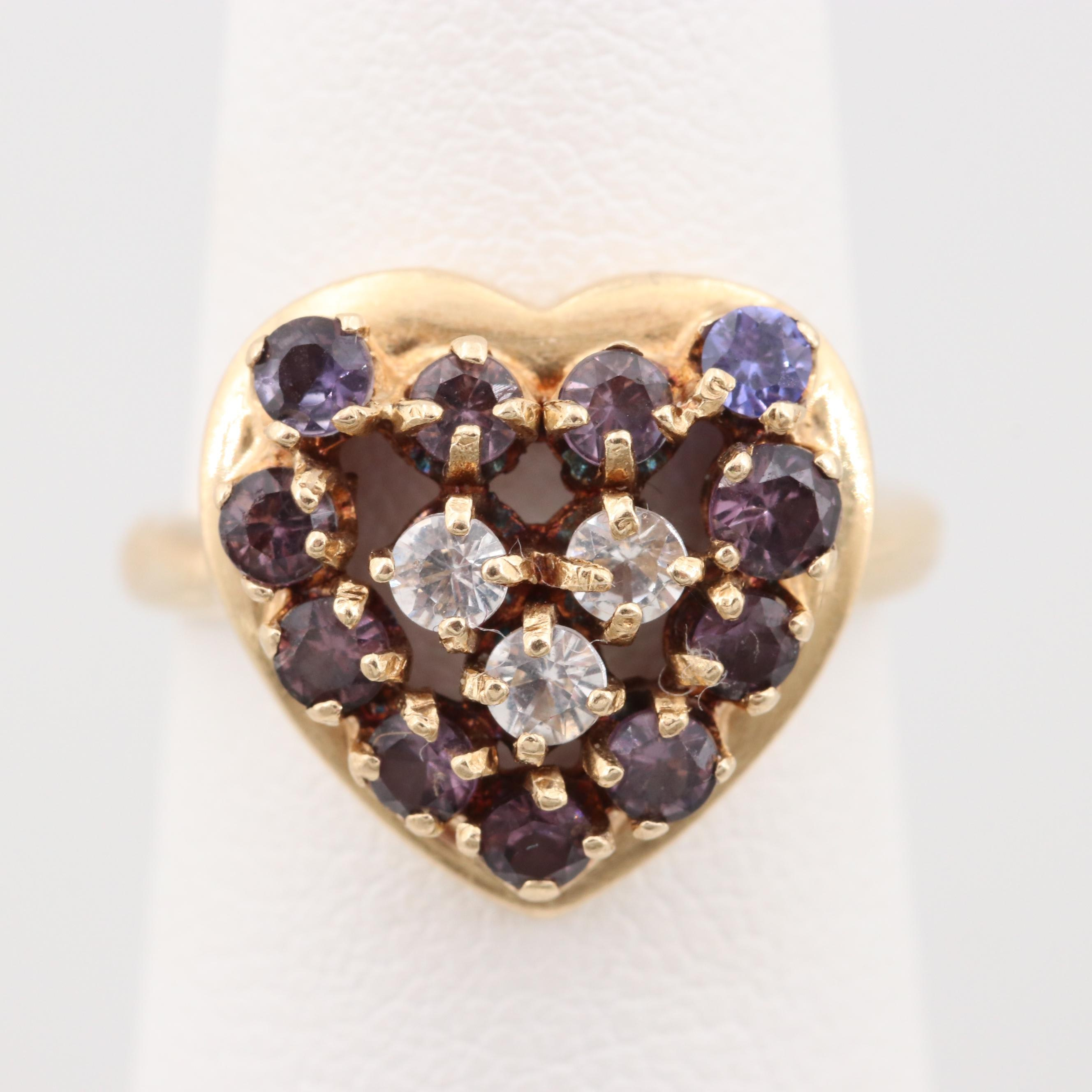14K Yellow Gold Synthetic Spinel Heart Ring