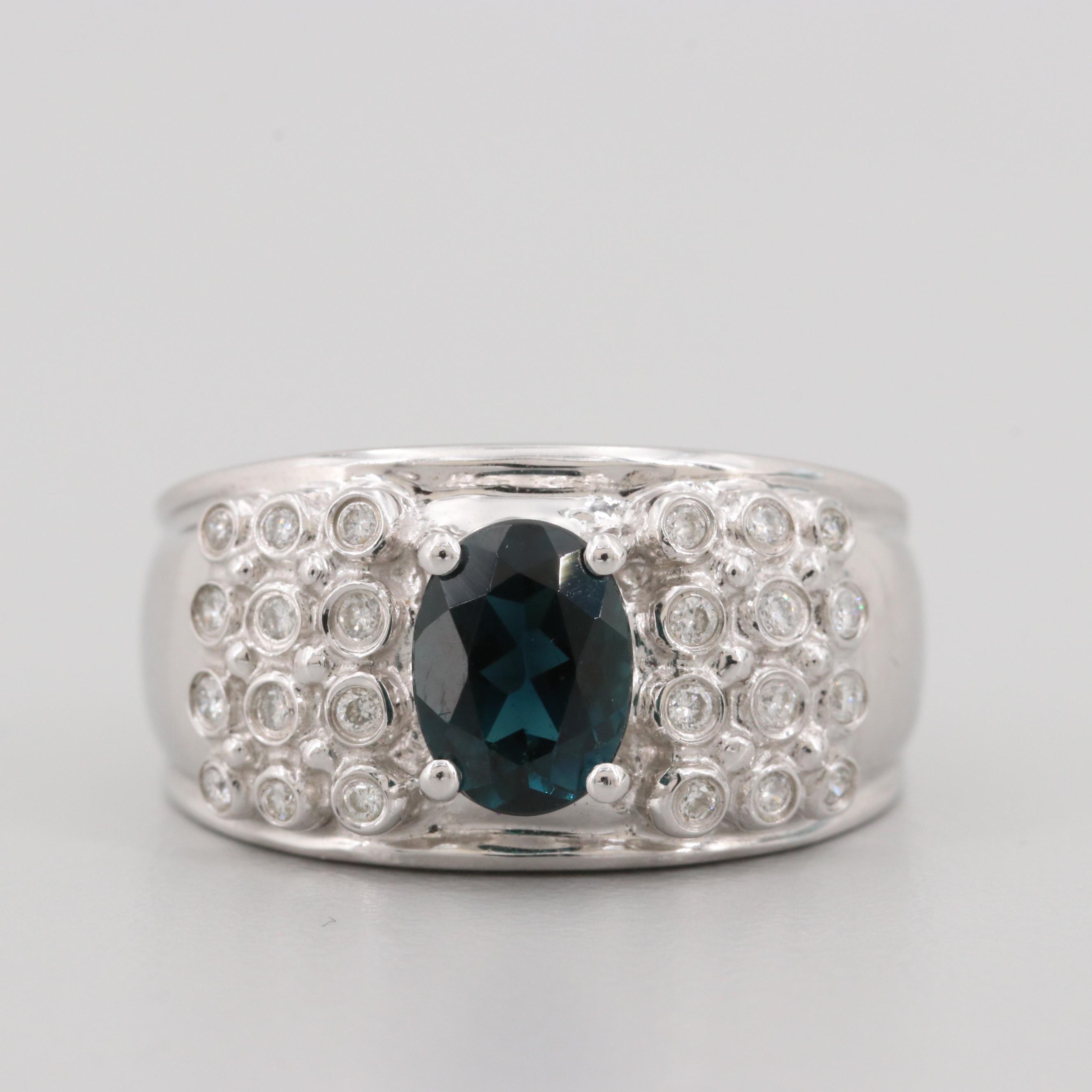 14K White Gold Indicolite and Diamond Ring