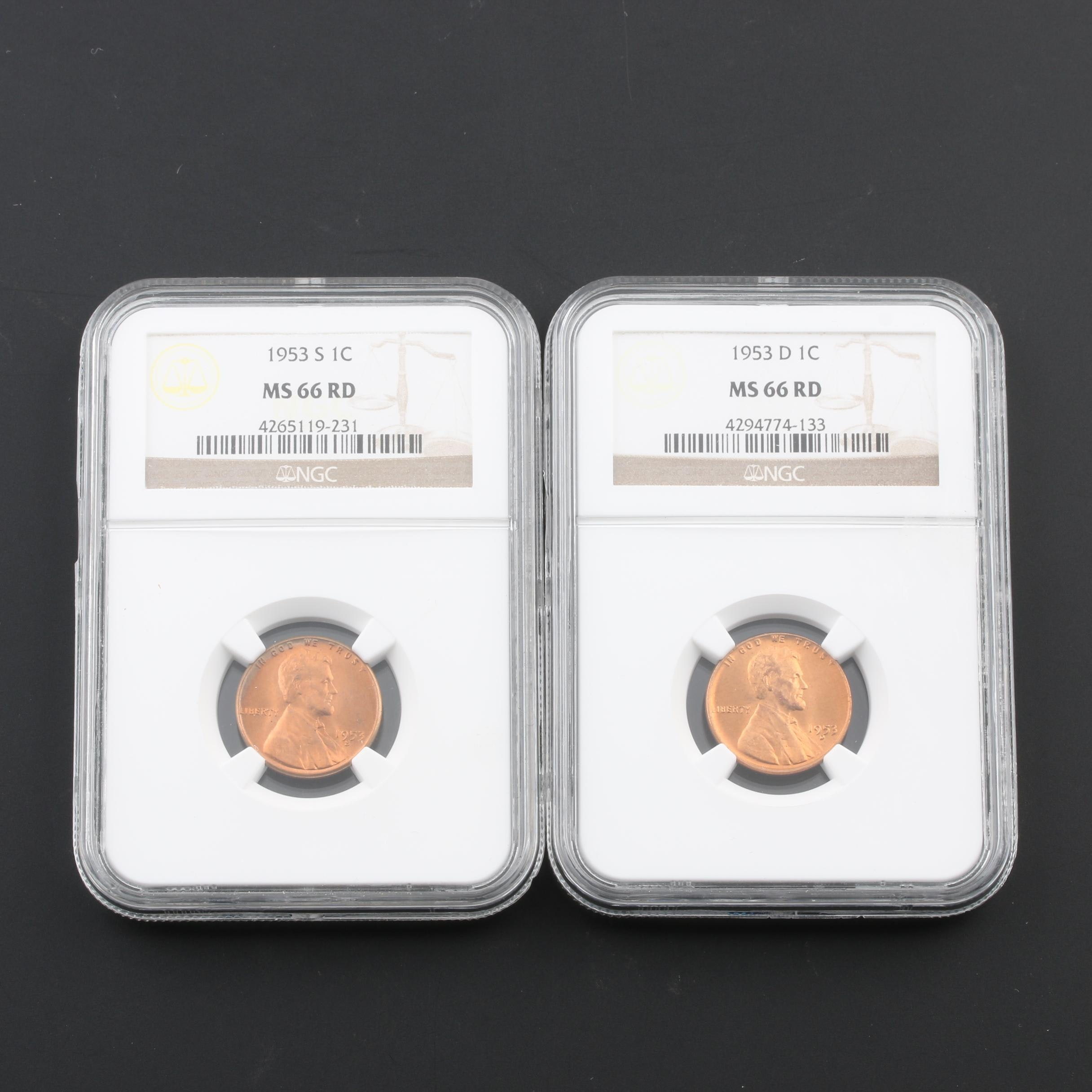 Group of Two NGC Graded MS66 RD Lincoln Wheat Cents