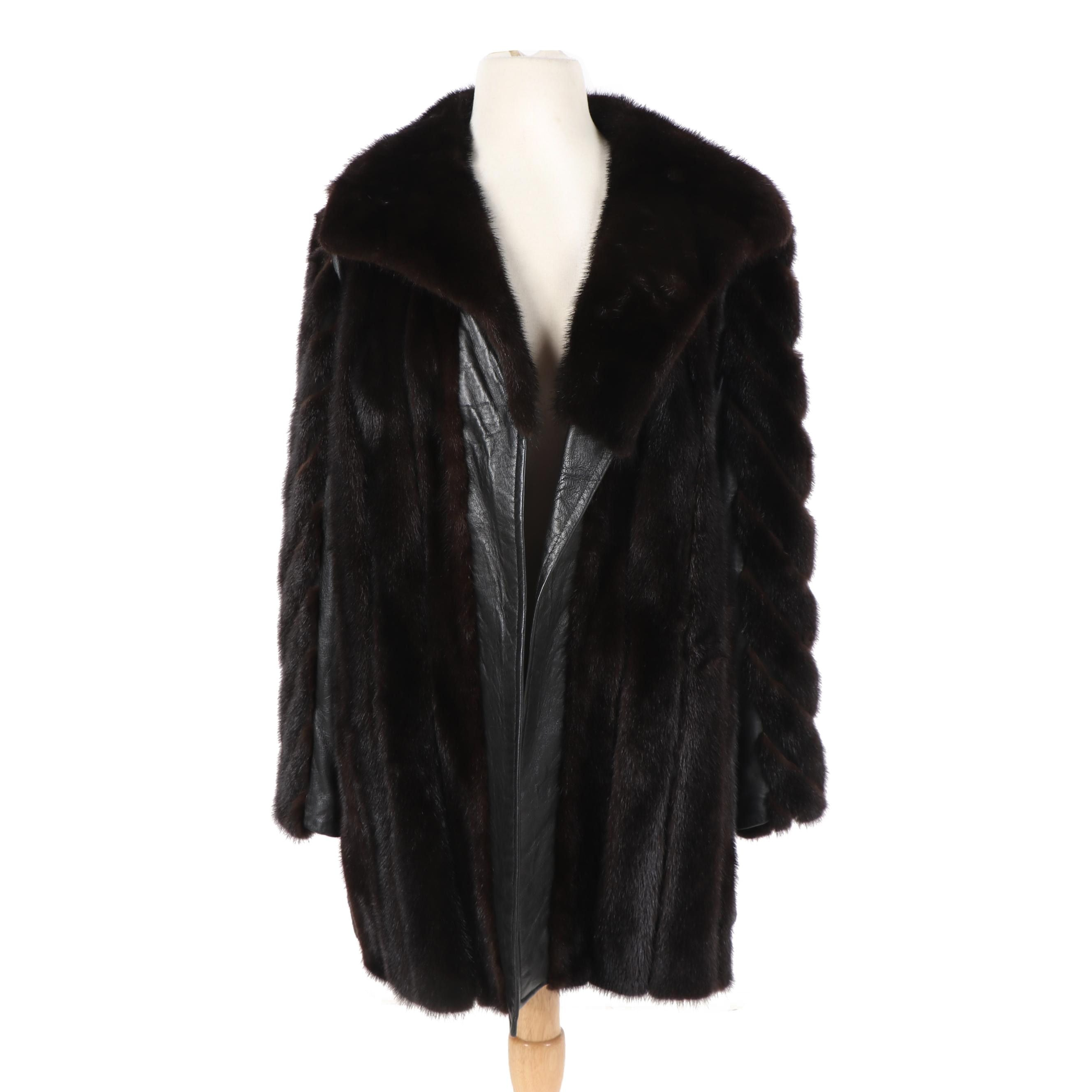 Women's Menger Smart Shops Ranch Mink Fur and Leather Coat