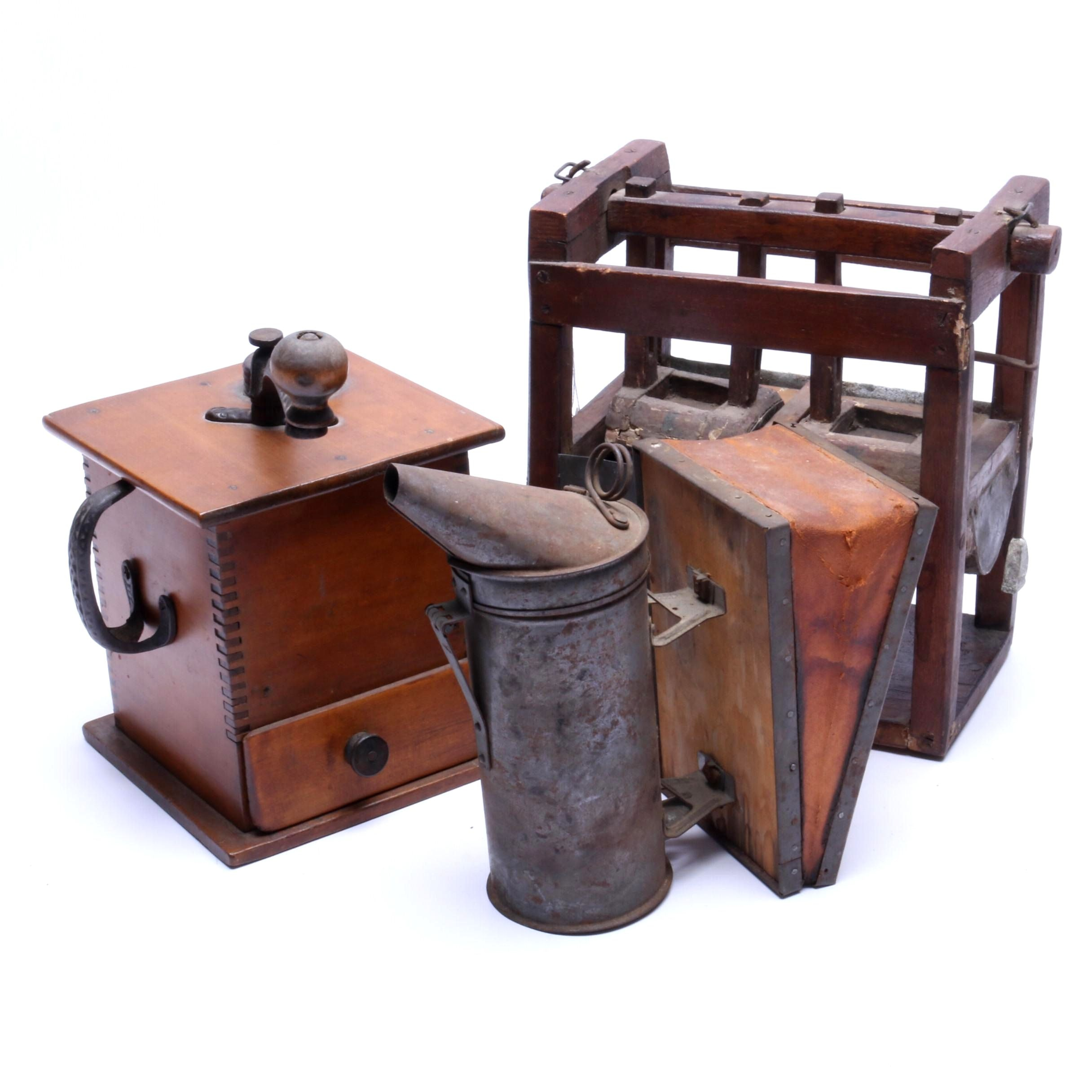 Primitive Food Press, Bee Smoker and Coffee Grinder