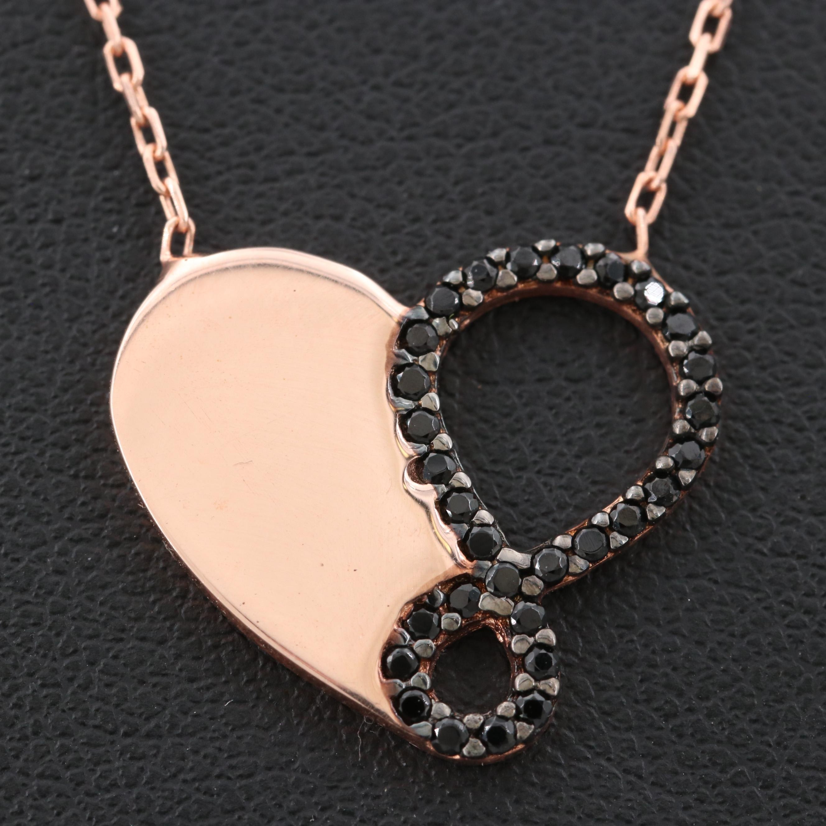 Rose Gold Wash on Sterling Silver Black Cubic Zirconia Necklace